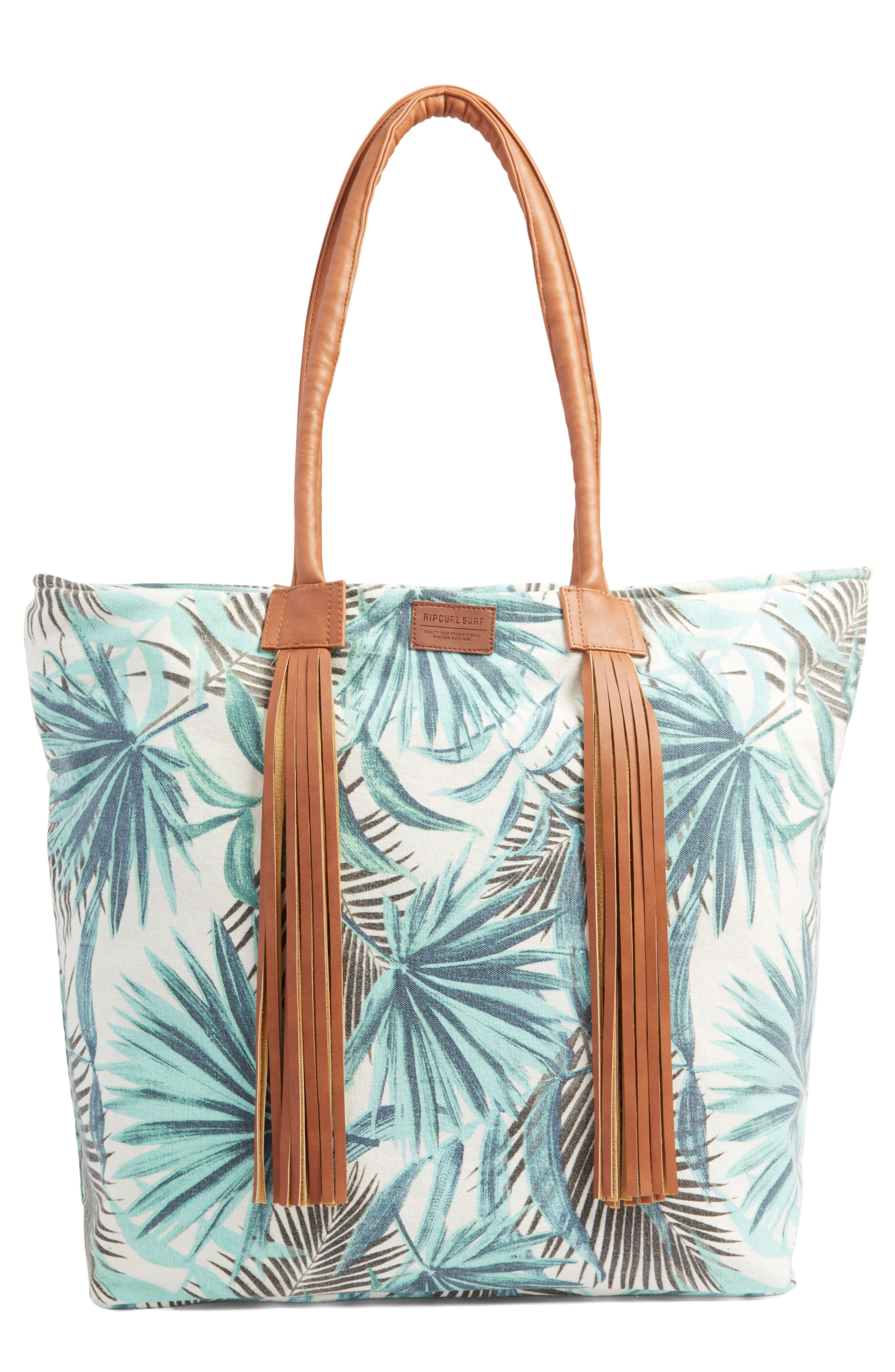 Alternate Image 1 Selected - Rip Curl Palm Print Beach Tote