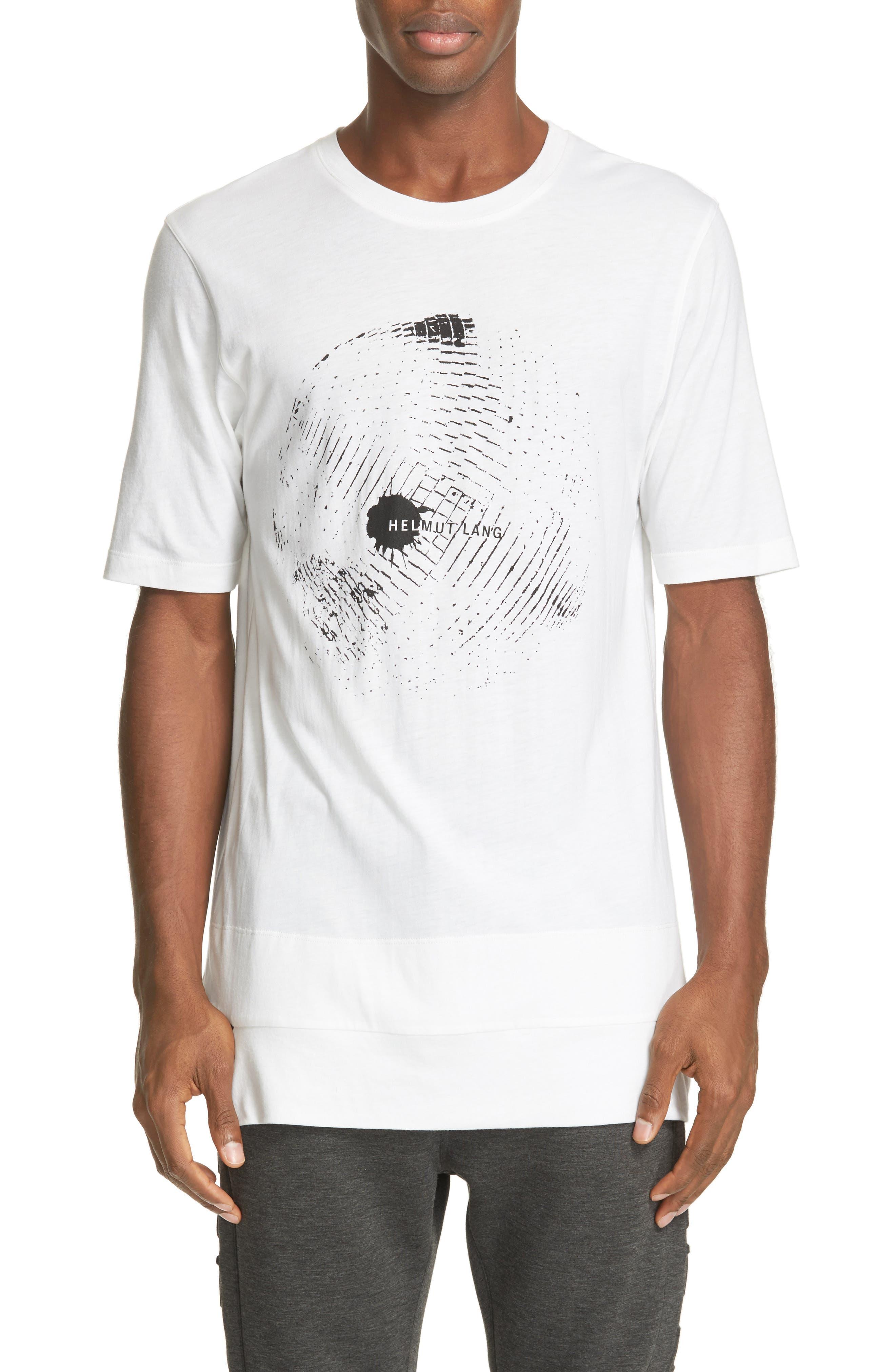 HELMUT LANG Disco Ball Graphic Sliced Hem T-Shirt