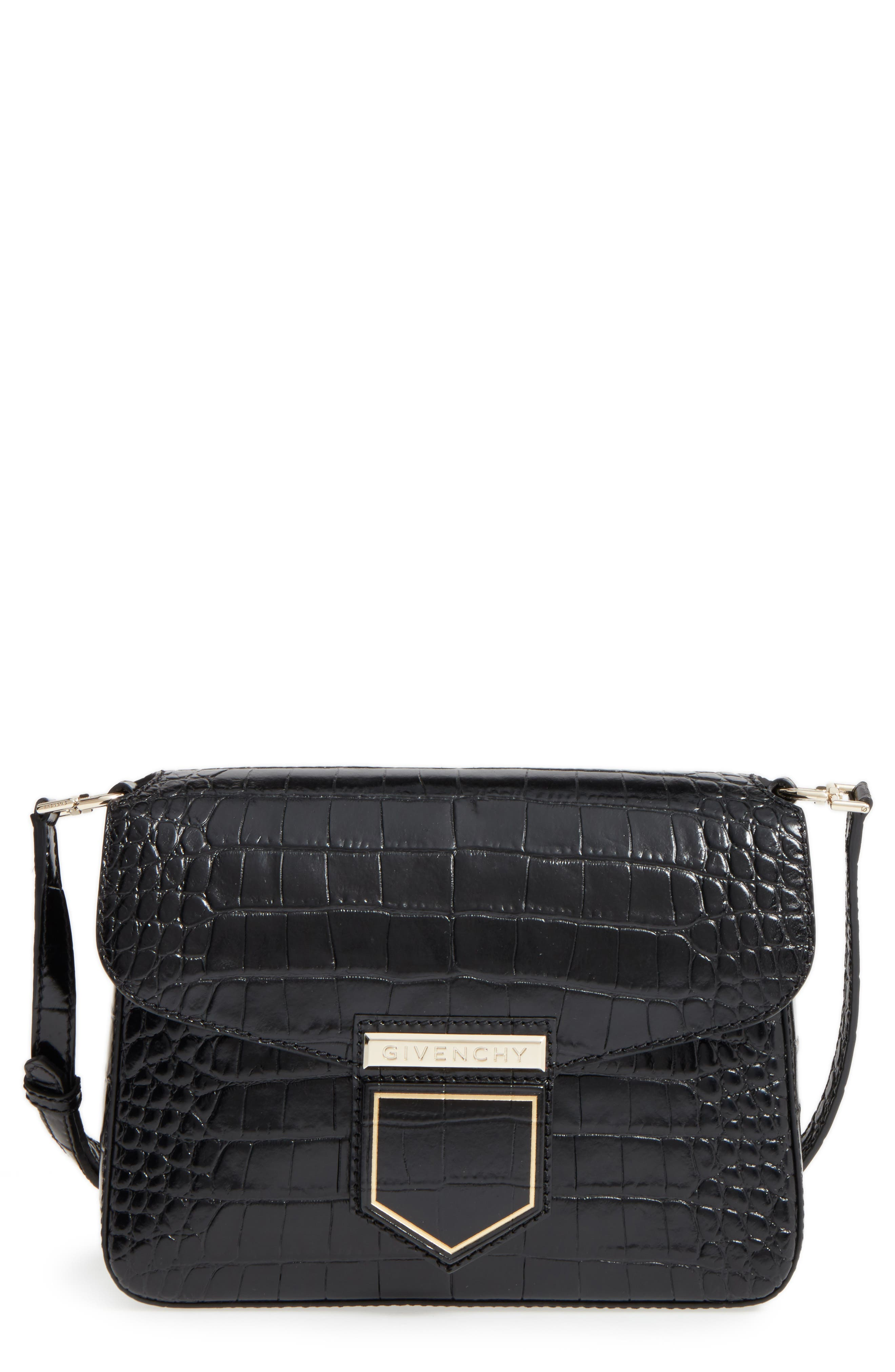 Givenchy Small Nobile Croc Embossed Leather Crossbody Bag