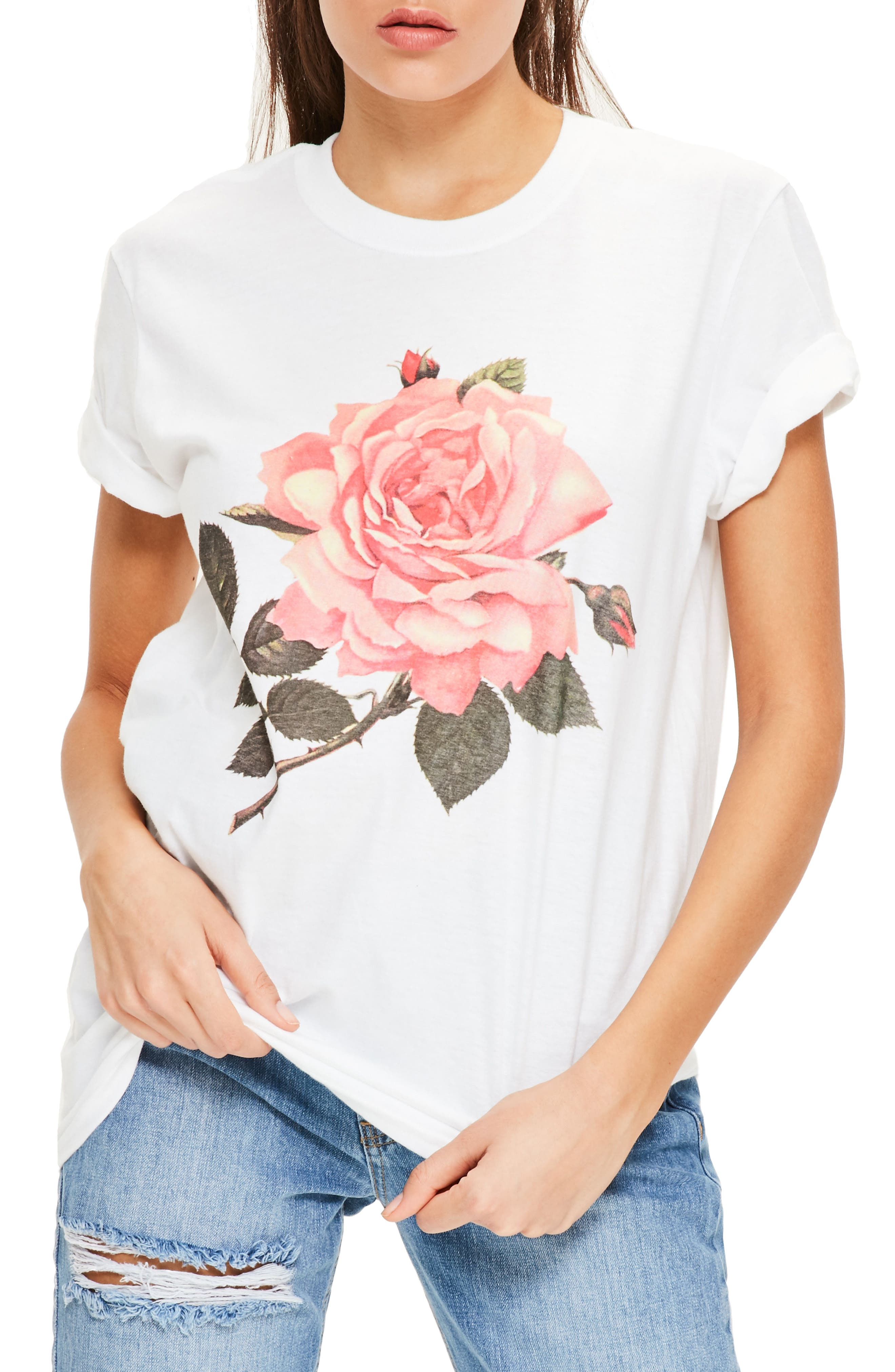 Alternate Image 1 Selected - Missguided Floral Print Graphic Tee
