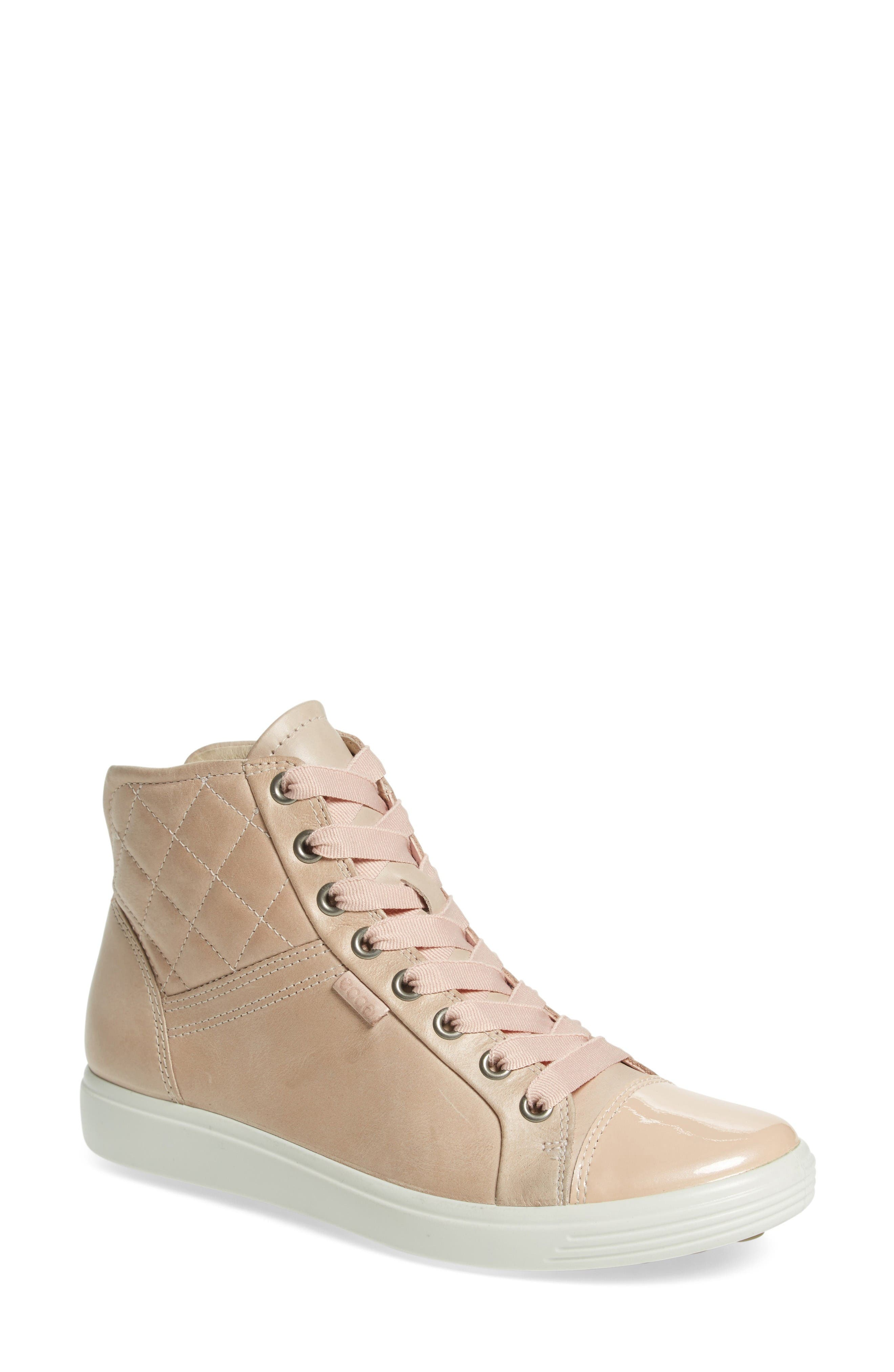 ECCO 'Soft 7' Quilted High Top Sneaker (Women)
