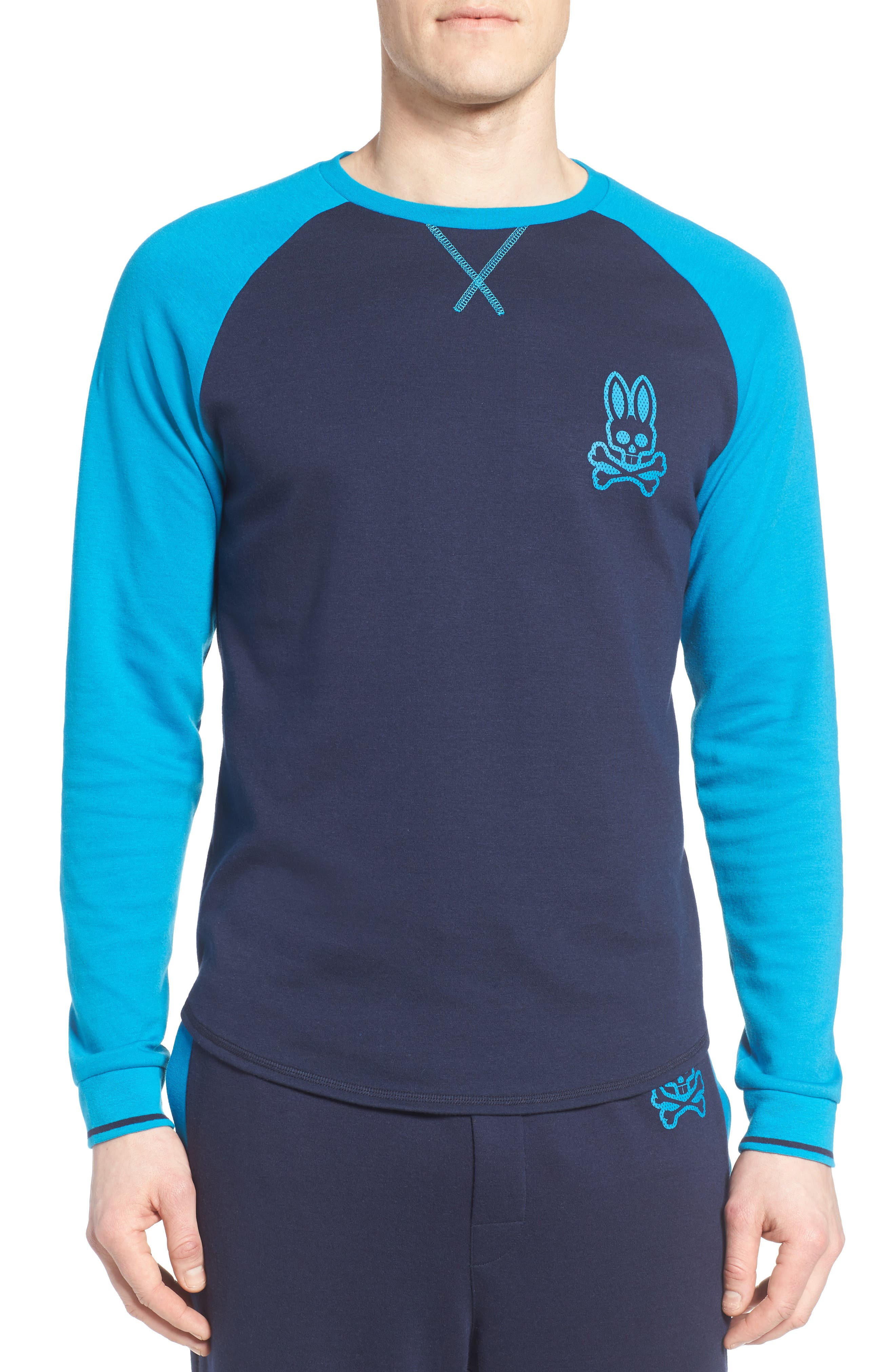 PSYCHO BUNNY Long Sleeve Raglan Lounge T-Shirt