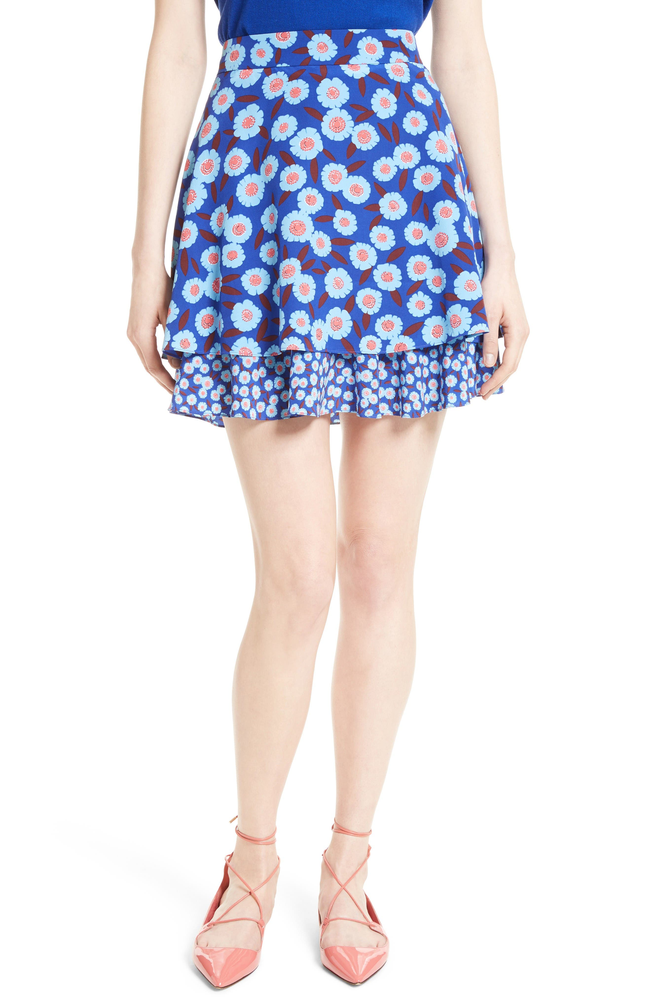 kate spade new york tangier floral double layer silk skirt