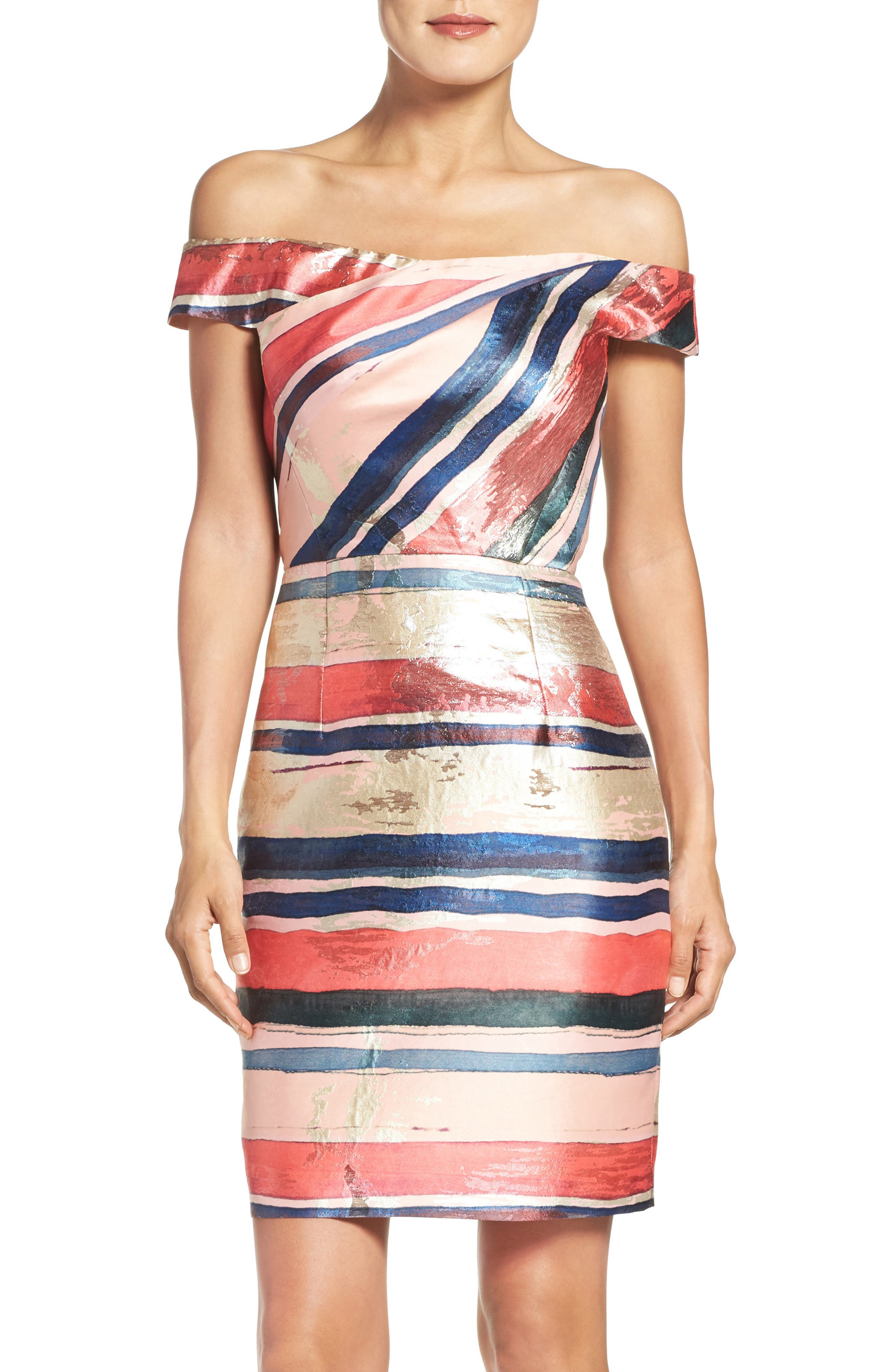 Main Image - Adrianna Papell Gold Leaf Jacquard Sheath Dress