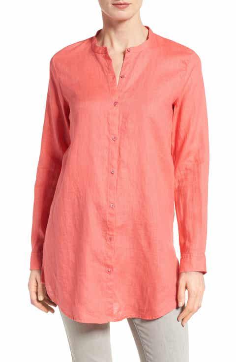 Eileen Fisher Organic Linen Mandarin Collar Shirt (Regular   Petite)