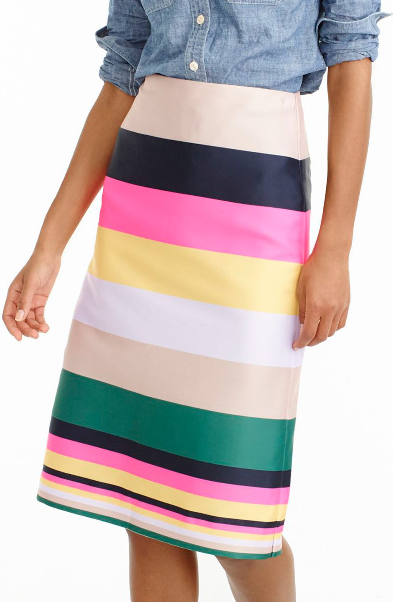 Main Image - J.Crew Pop Stripe Skirt (Regular & Petite)