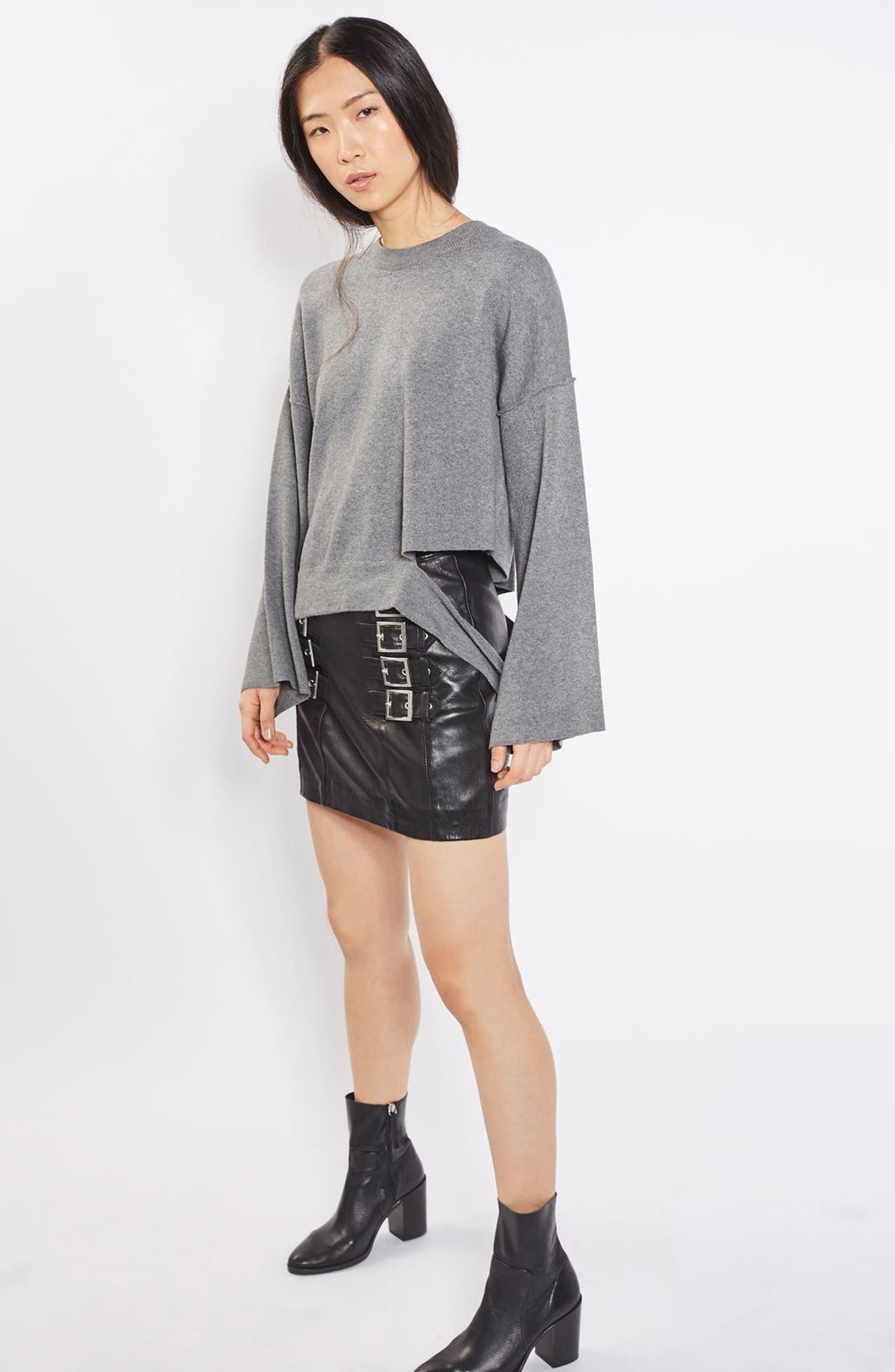 Alternate Image 2  - Topshop Buckle Detail Leather Miniskirt
