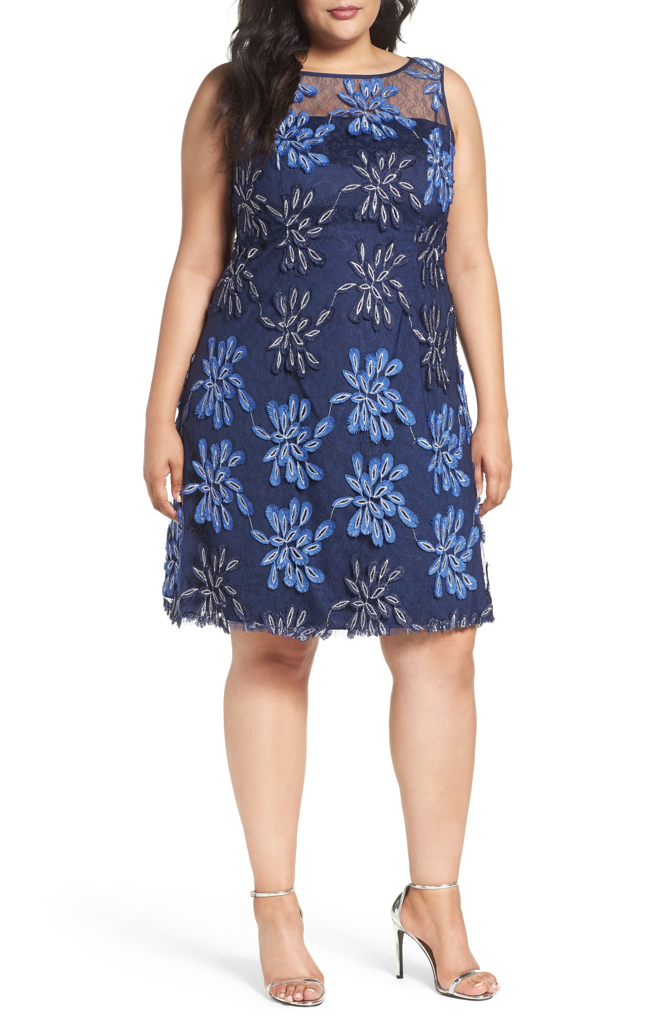 Adrianna Papell Appliqué Lace A-Line Dress (Plus Size)