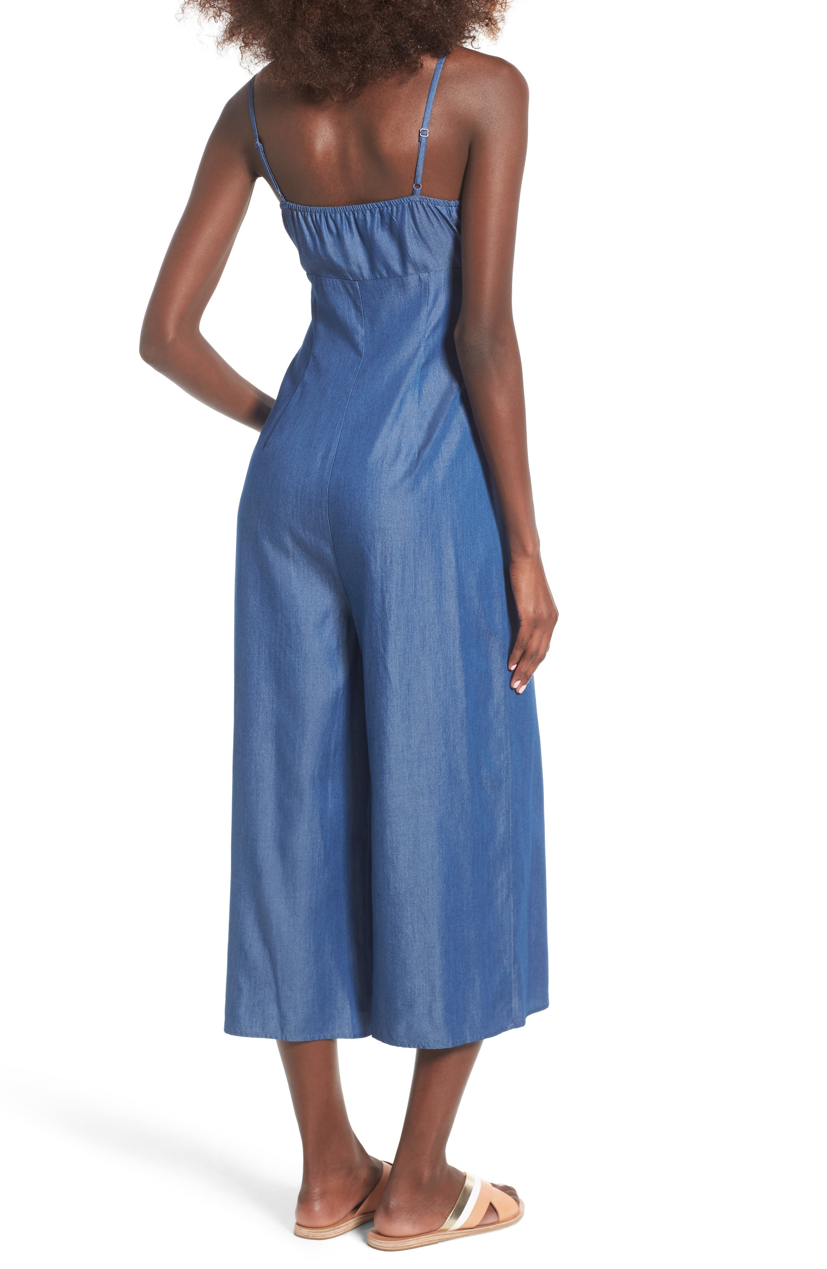 Alternate Image 2  - Soprano Tie Front Chambray Jumpsuit