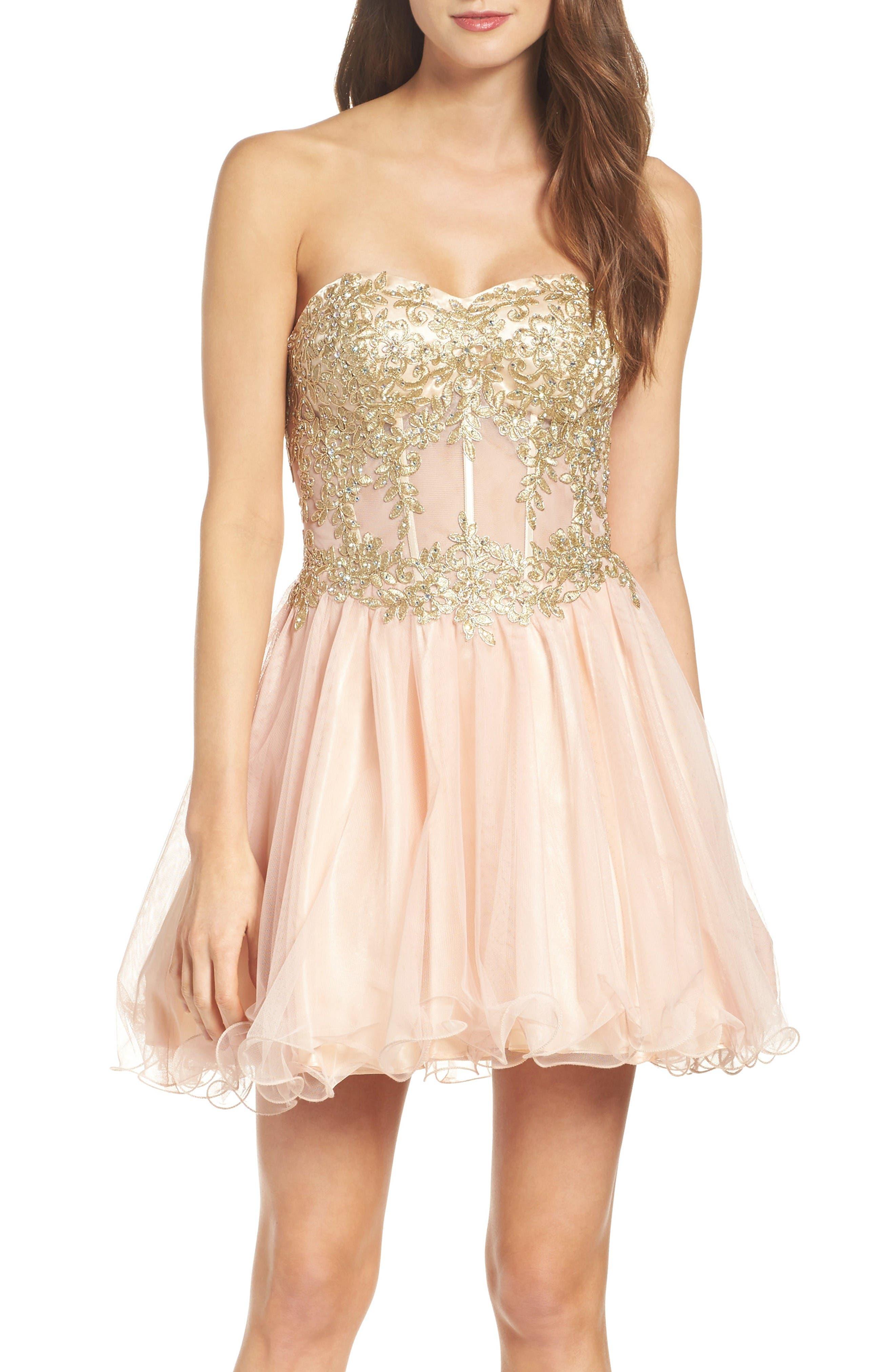 Main Image - Blondie Nites Strapless Bustier Dress