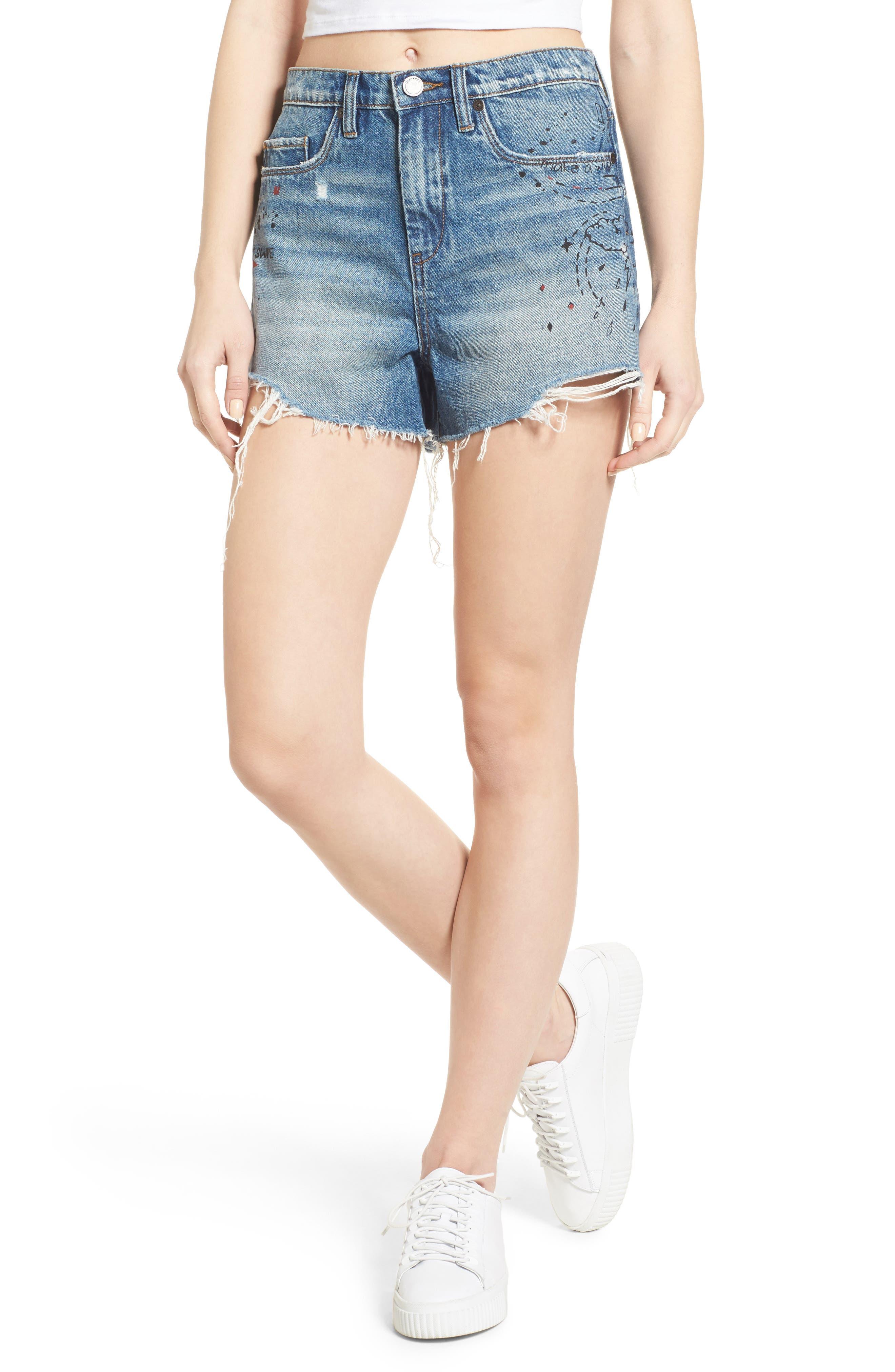Main Image - BLANKNYC Ms. Throwback Cutoff Denim Shorts