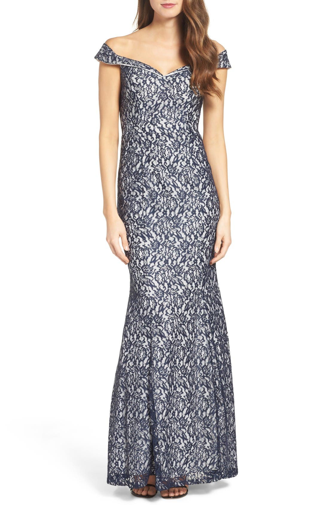 Main Image - Sequin Hearts Off the Shoulder Lace Mermaid Gown