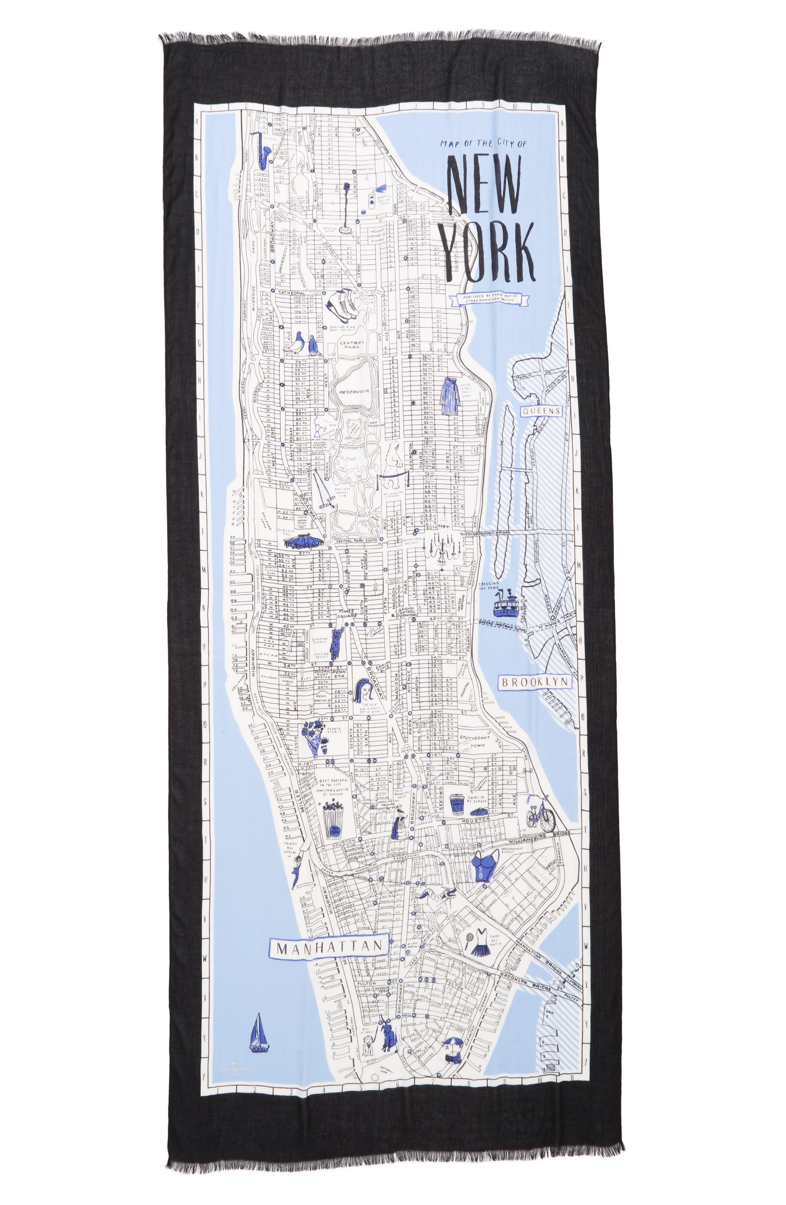 Alternate Image 2  - kate spade new york new york map print scarf