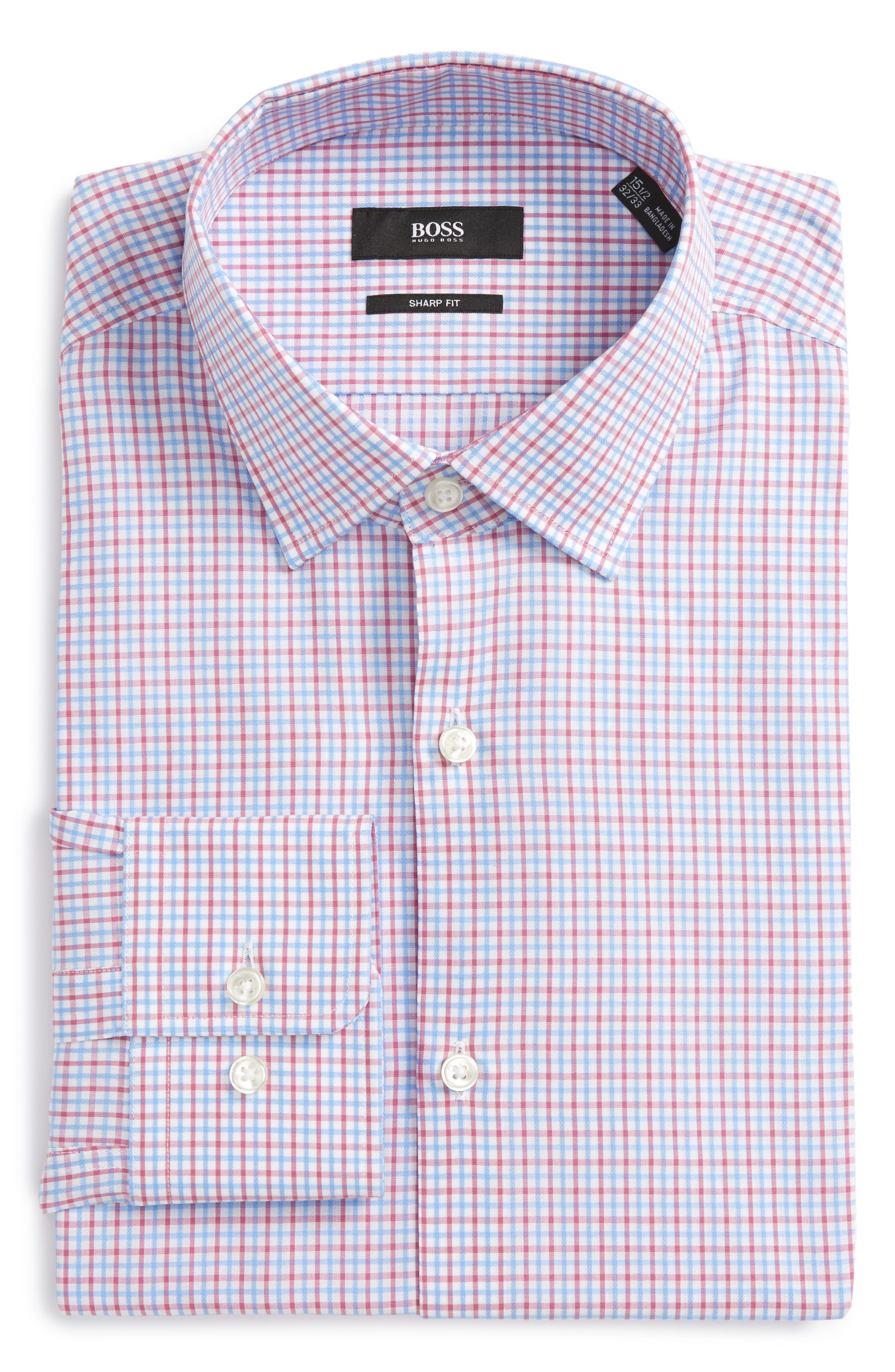 Alternate Image 1 Selected - BOSS Marley Sharp Fit Check Dress Shirt