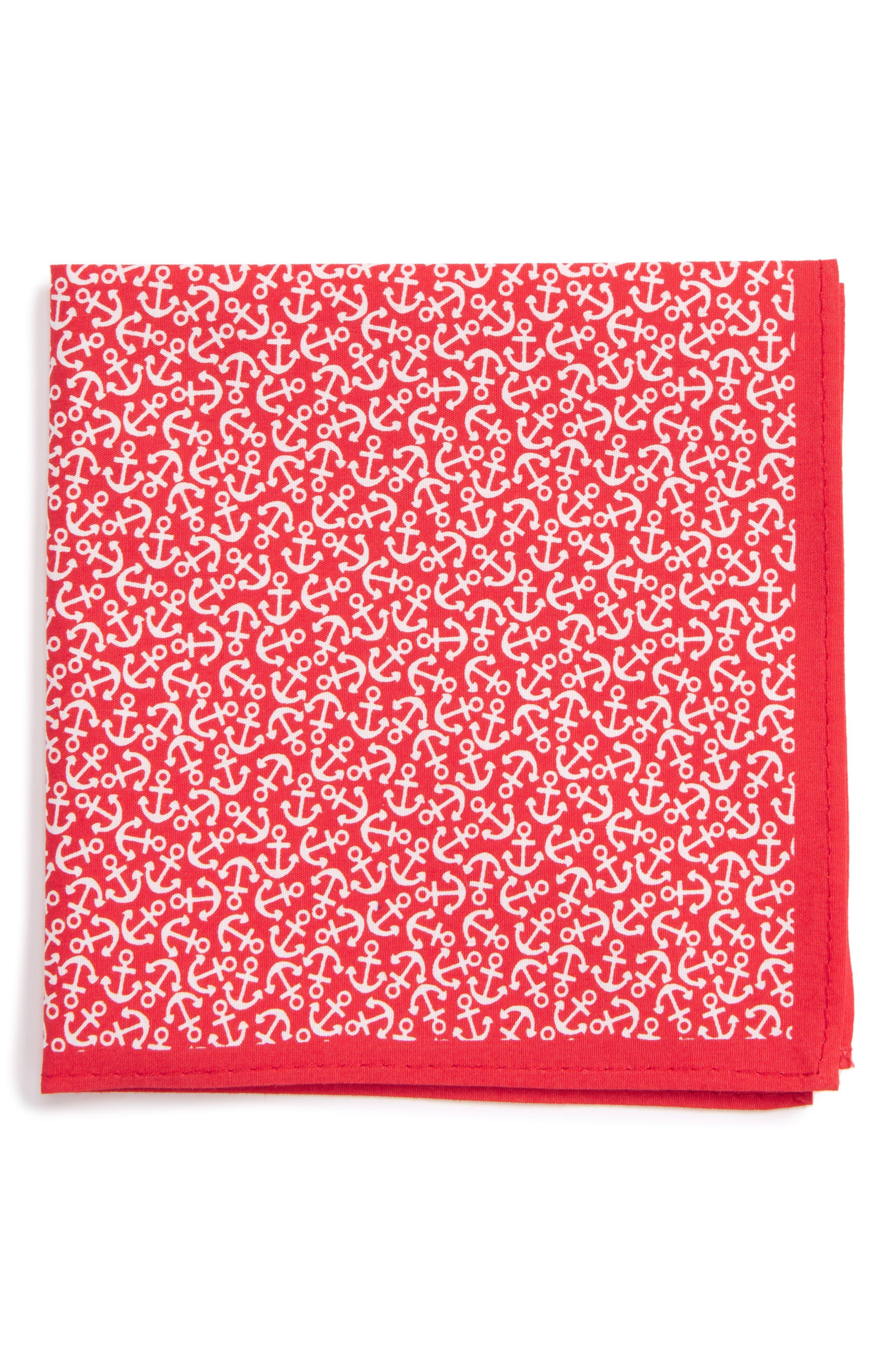 Nordstrom Anchor Print Silk Pocket Square (Big Boys)
