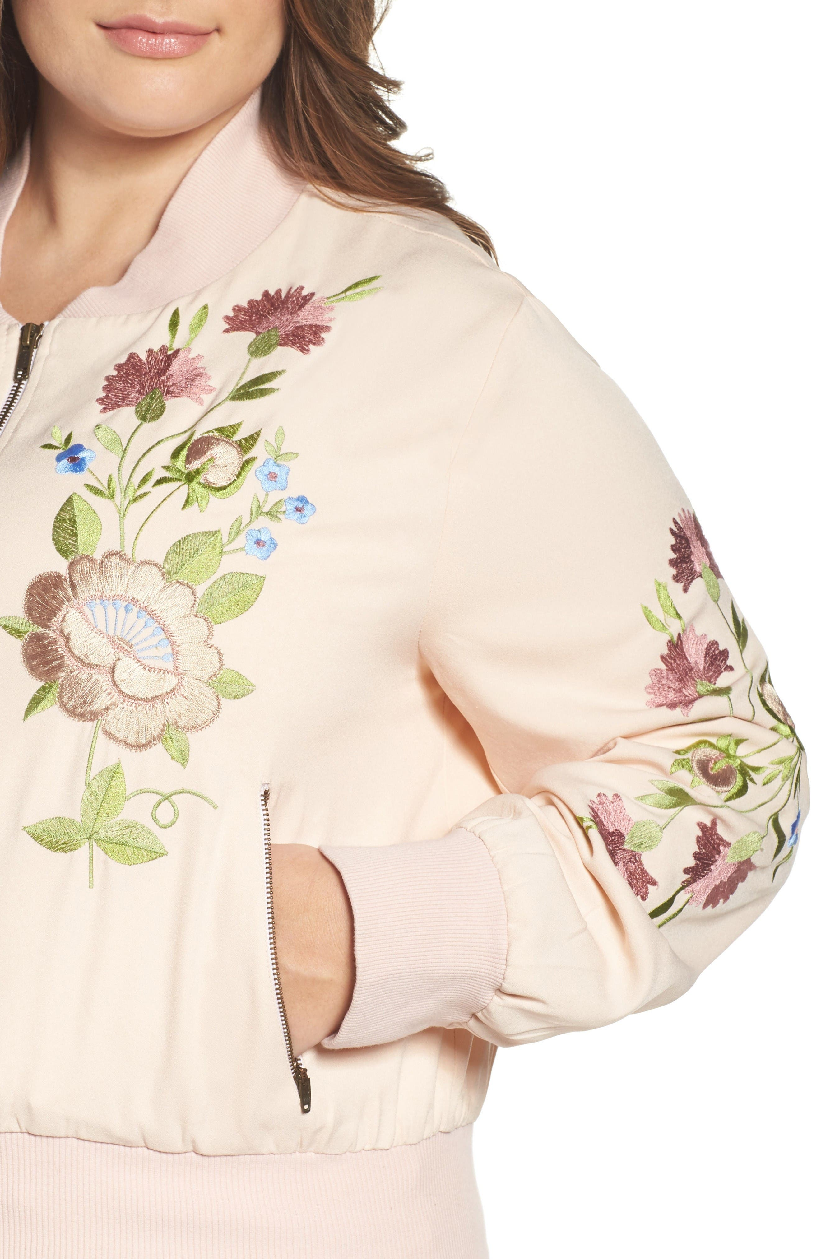 Alternate Image 4  - Glamorous Floral Embroidered Bomber Jacket (Plus Size)