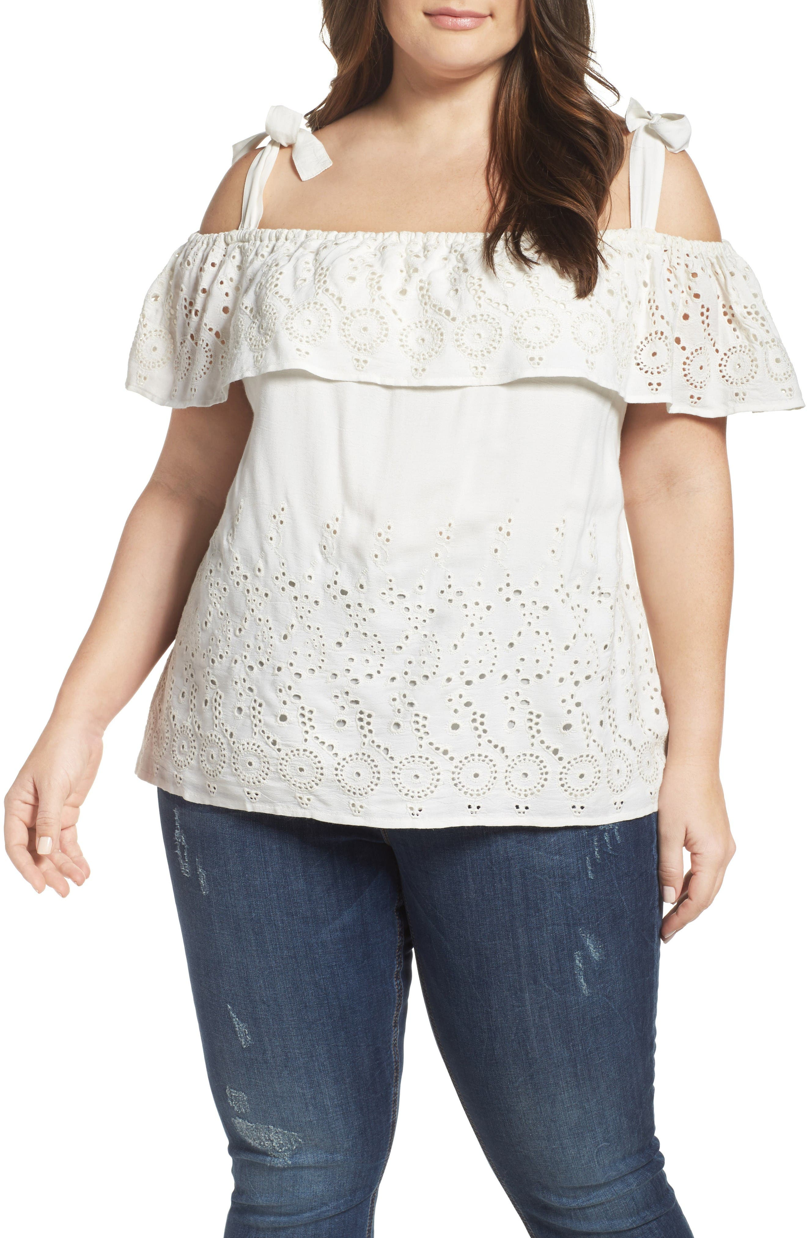 Alternate Image 1 Selected - Lucky Brand Eyelet Embroidered Off the Shoulder Top (Plus Size)