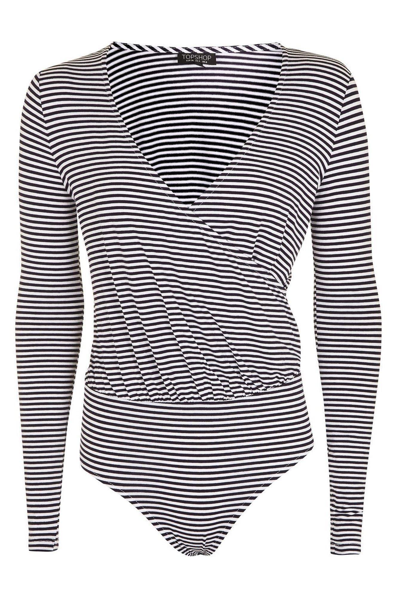Alternate Image 4  - Topshop Stripe Drape Bodysuit