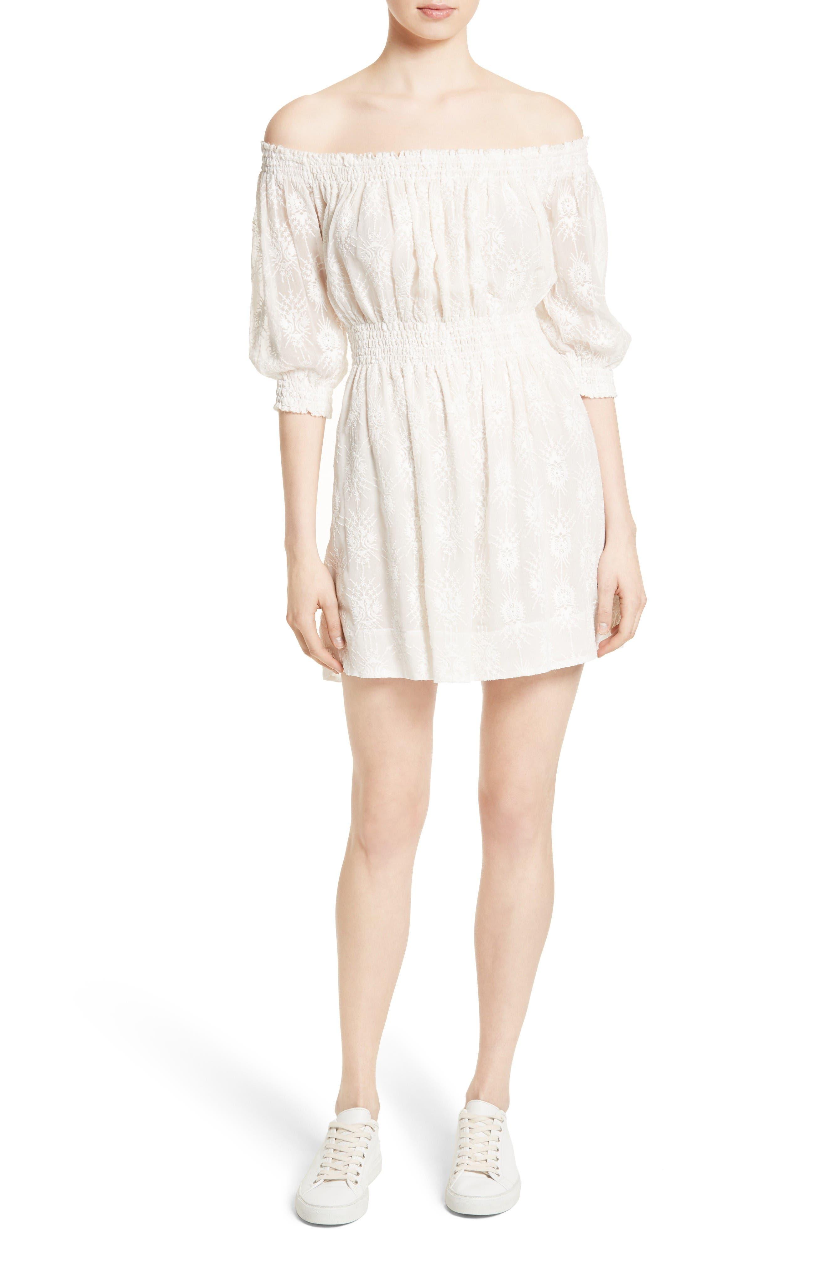 Rebecca Taylor Off the Shoulder Embroidered Dress