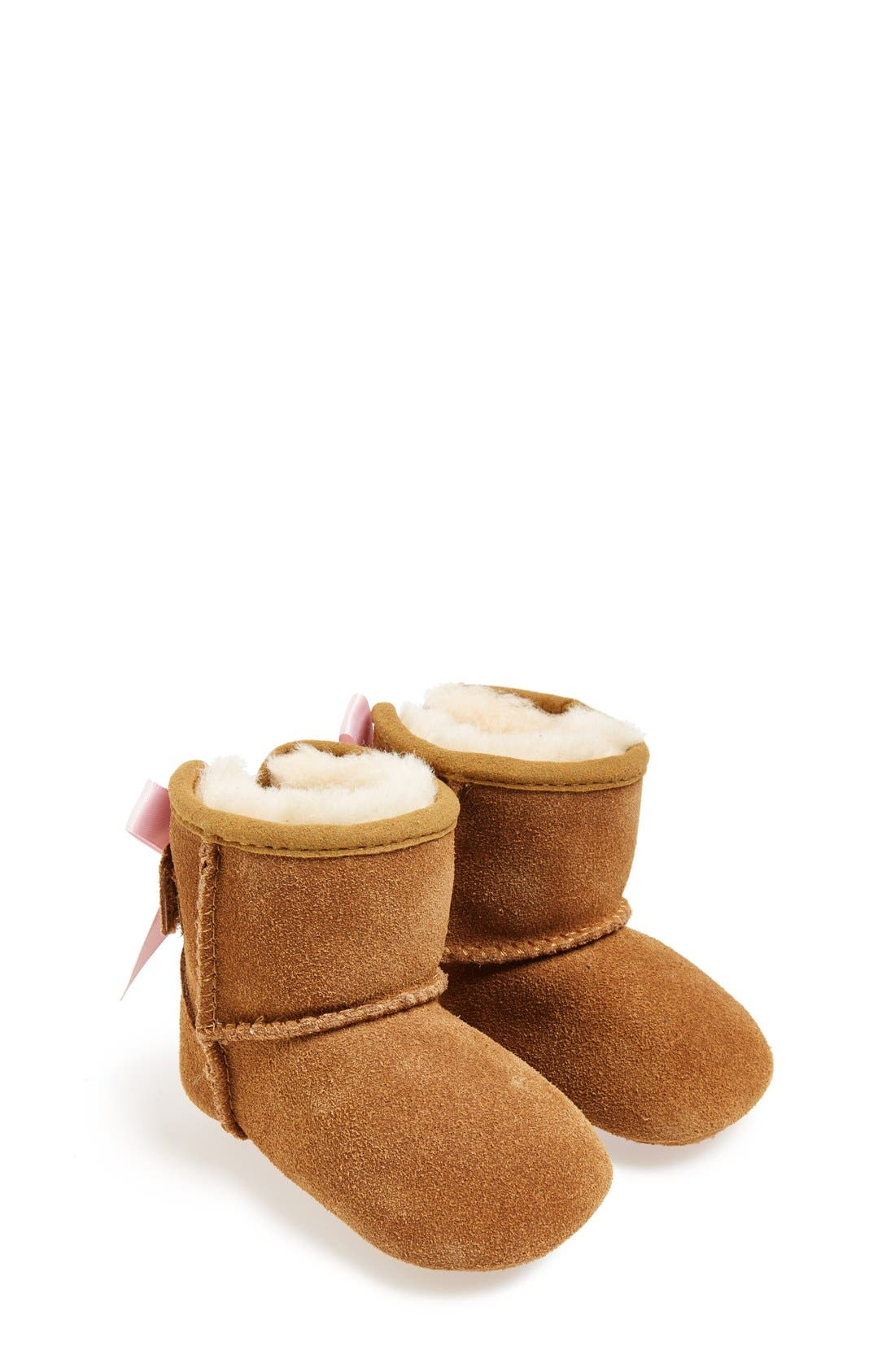 Main Image - UGG® Jesse Bow Suede Boot (Baby & Walker)