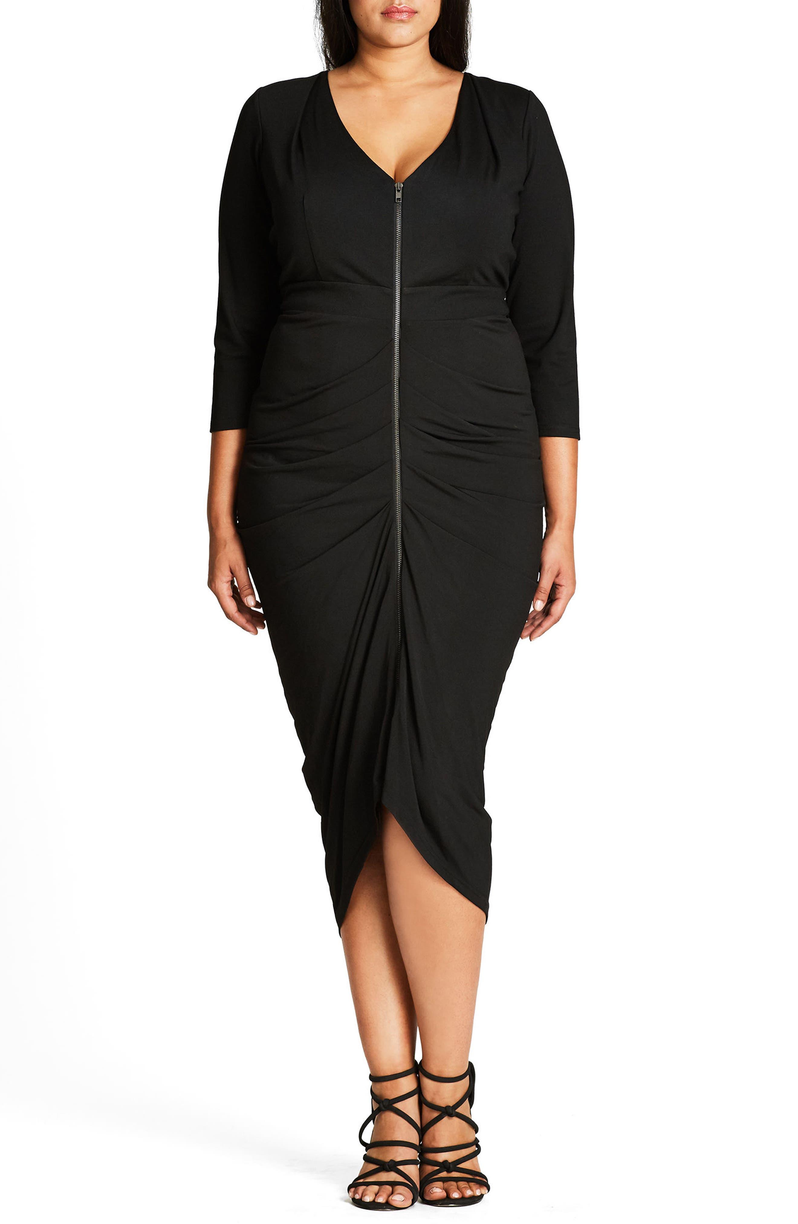 City Chic Zip Front Drape Midi Dress (Plus Size)