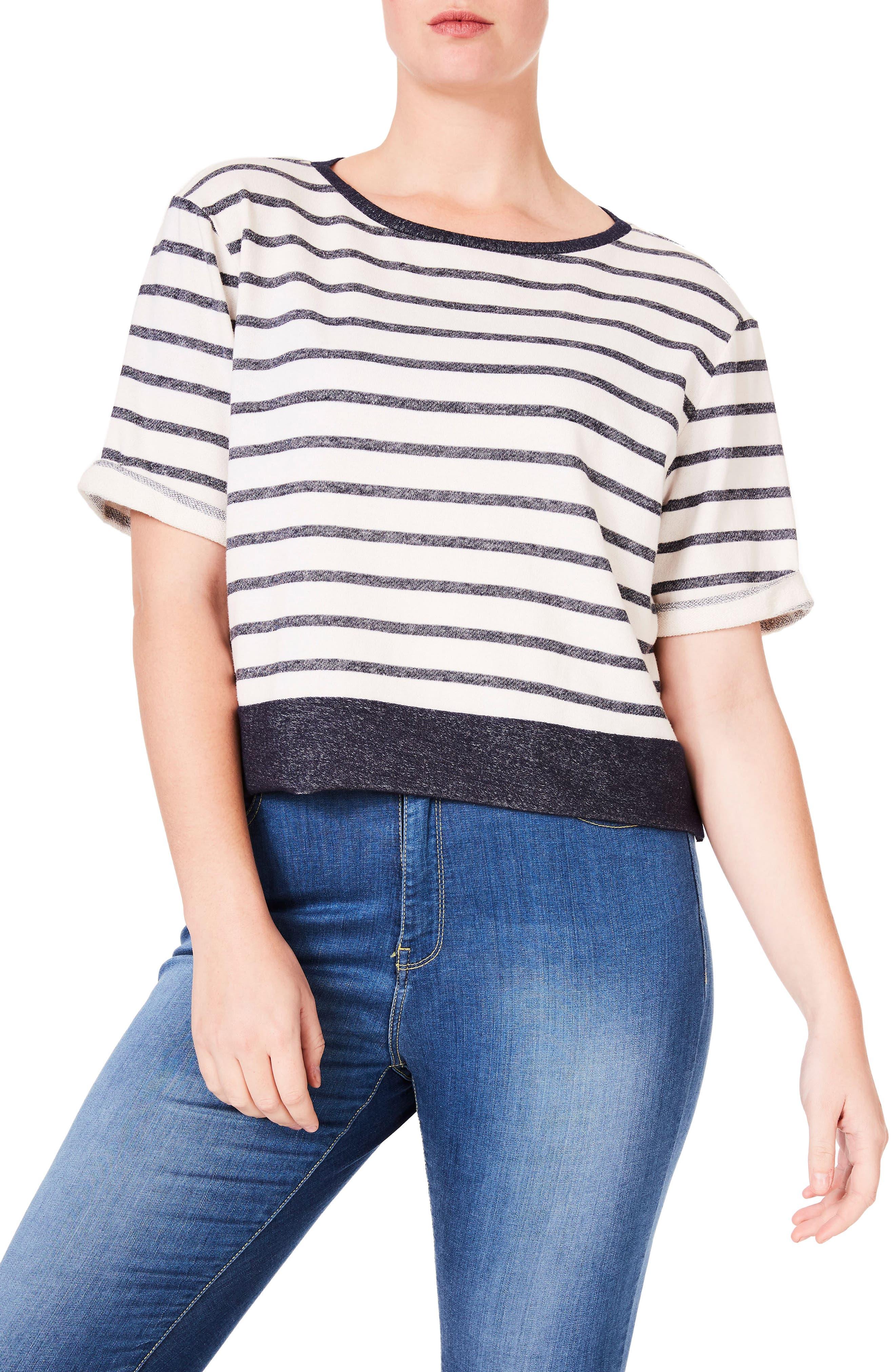 ELVI Stripe Jersey Top (Plus Size)