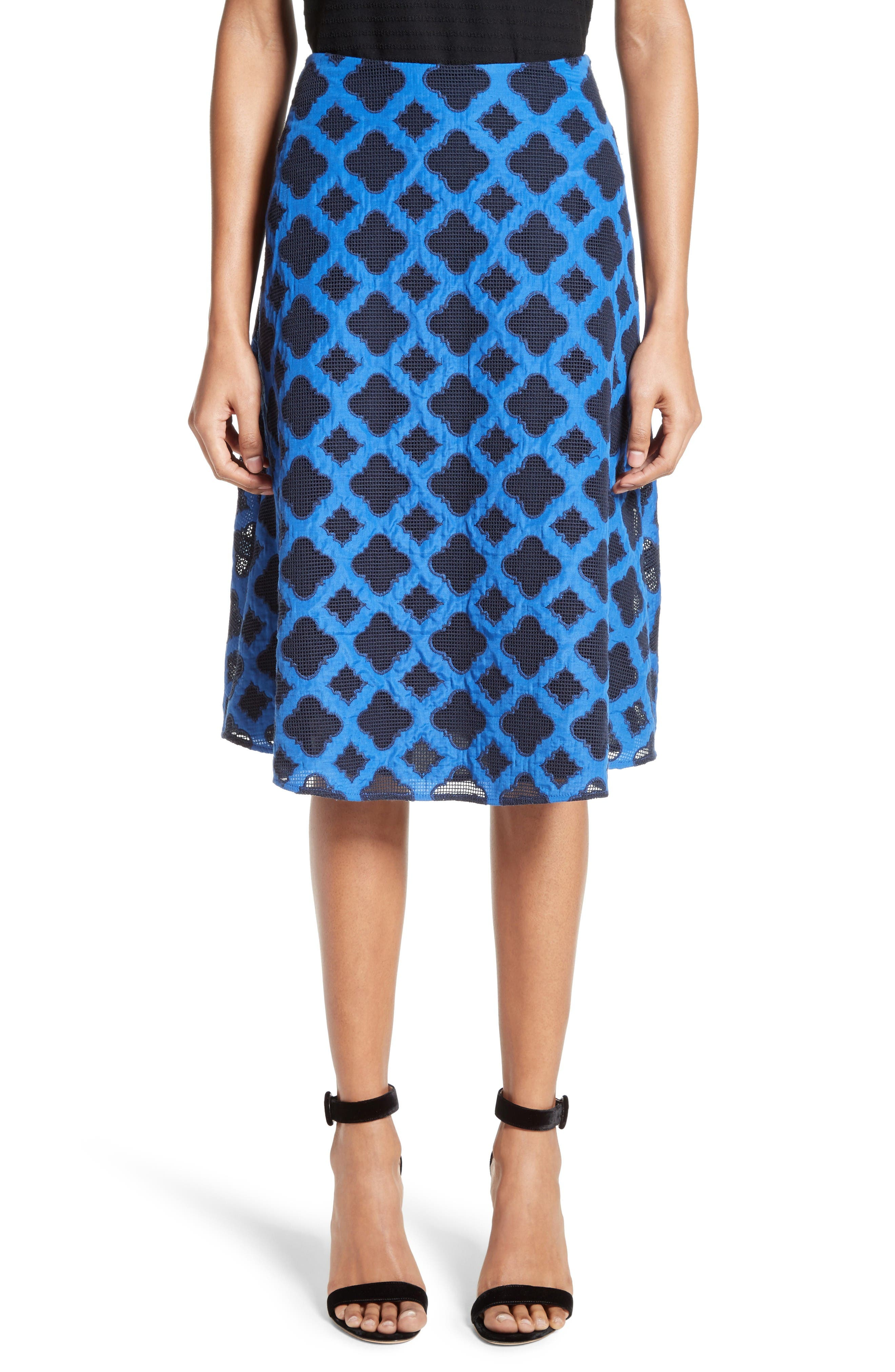 St. John Collection Aksana Geo Embroidered Mesh Skirt