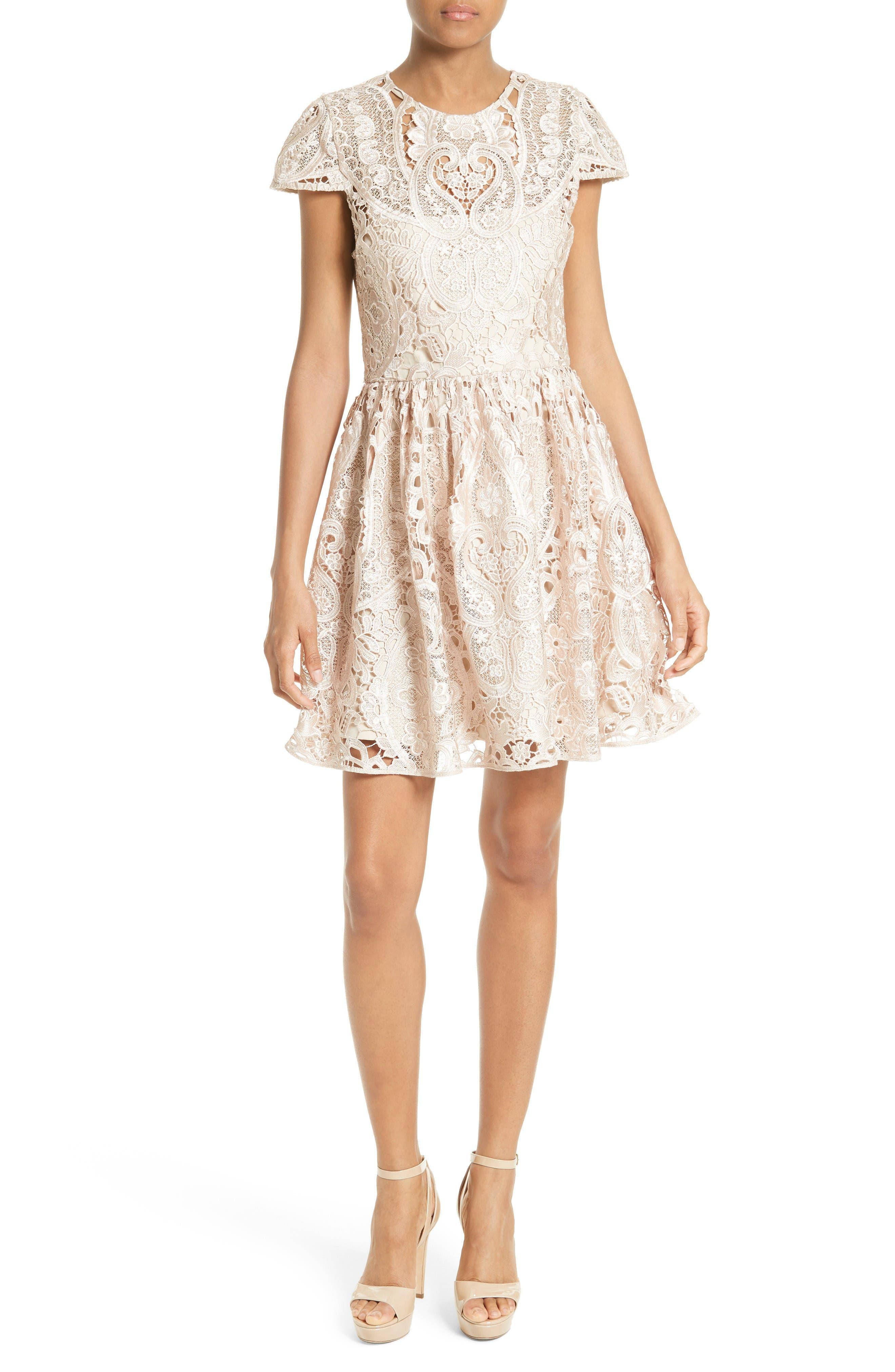 Alice + Olivia Gracia Lace Fit & Flare Dress