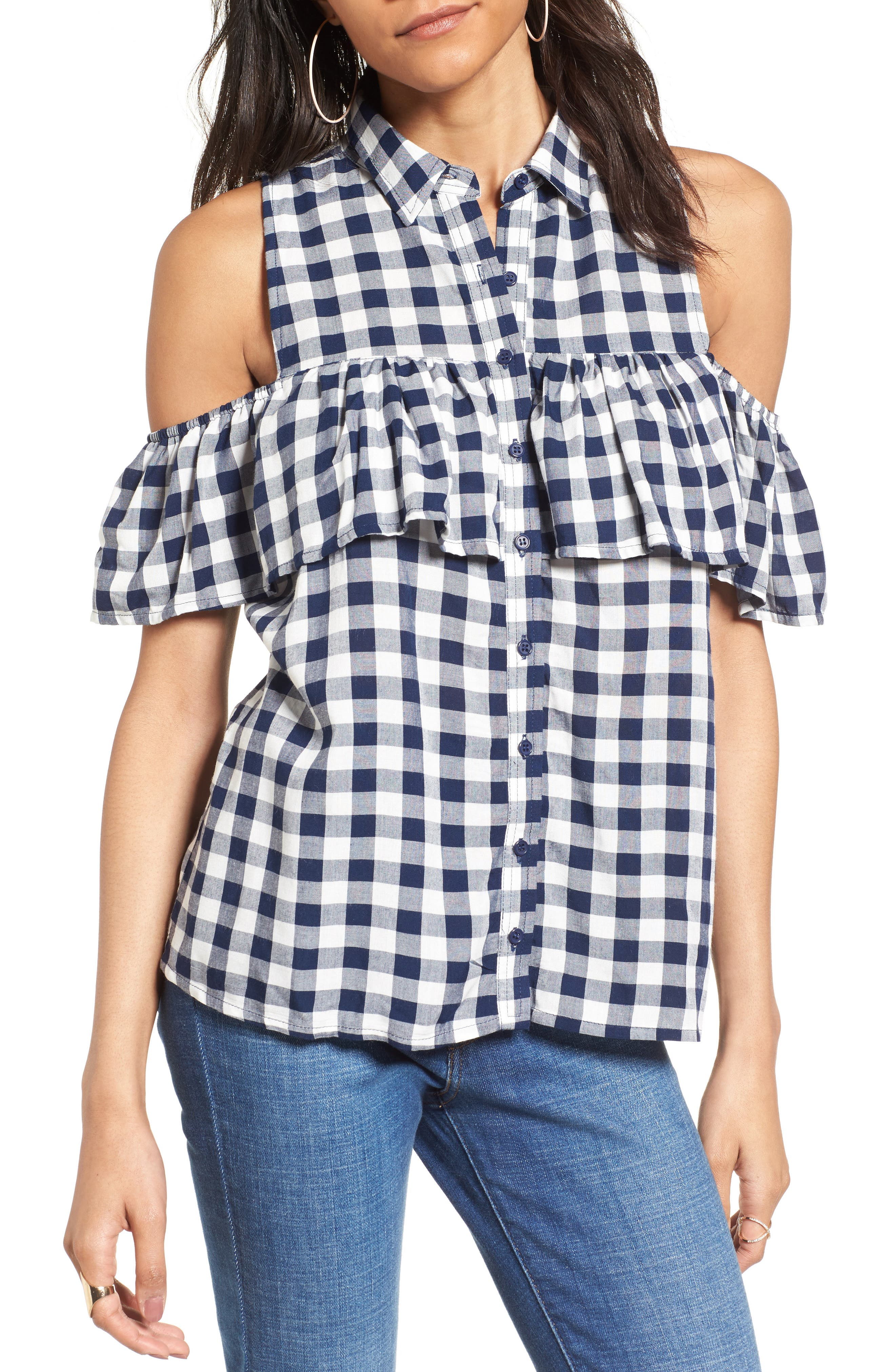 Alternate Image 1 Selected - Love, Fire Gingham Cold Shoulder Top