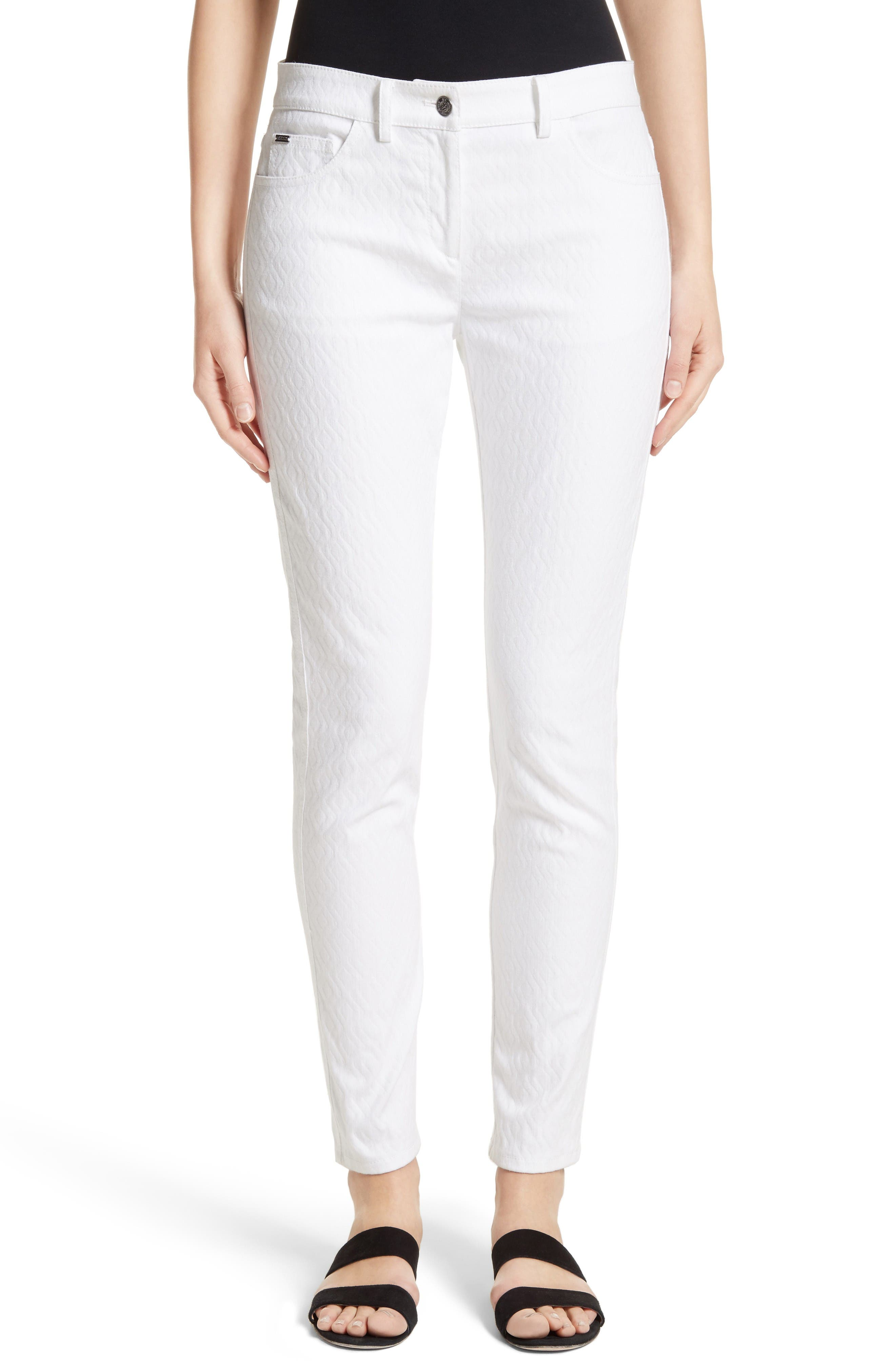 St. John Collection Bardot Diamond Jacquard Denim Jeans