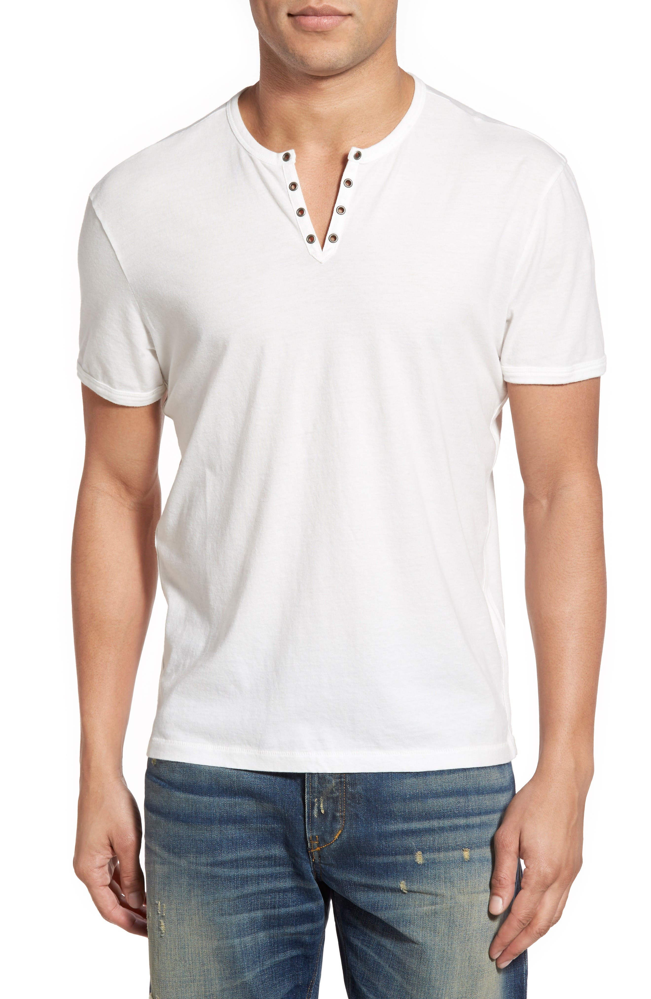 John Varvatos Star USA Eyelet Neck Henley