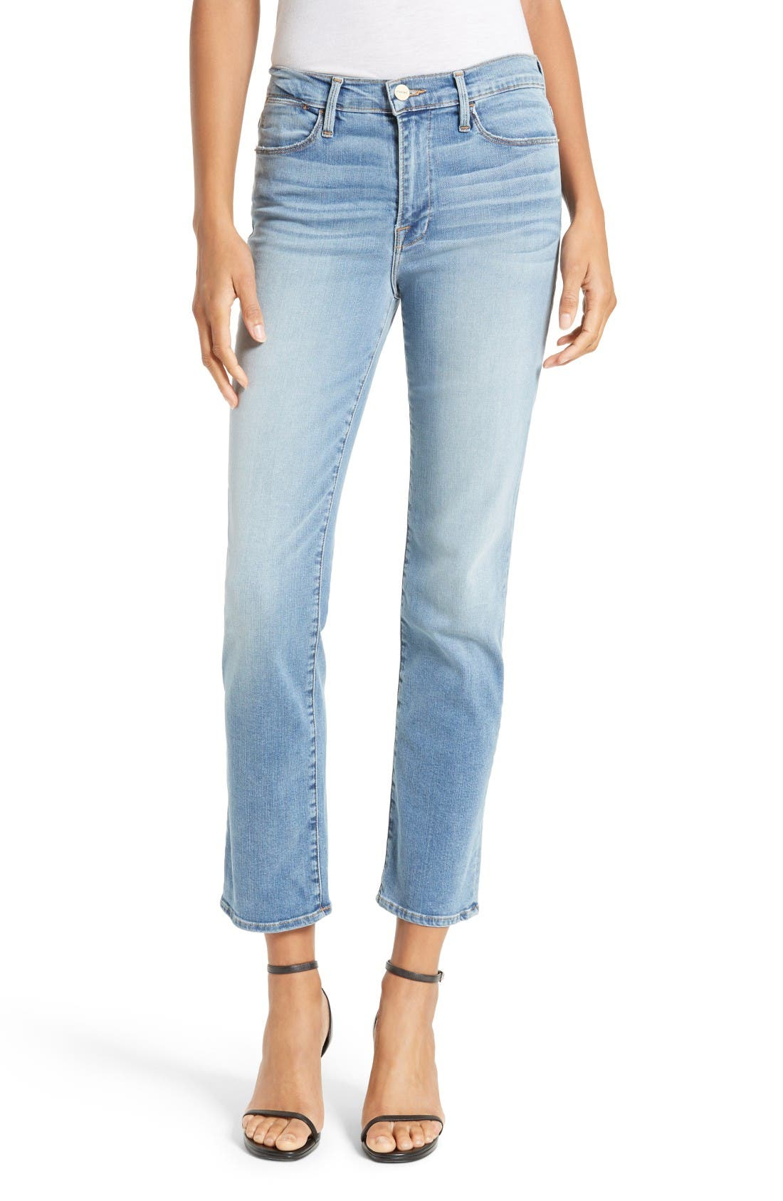 FRAME Le High Straight High Rise Crop Jeans (Kirkside)
