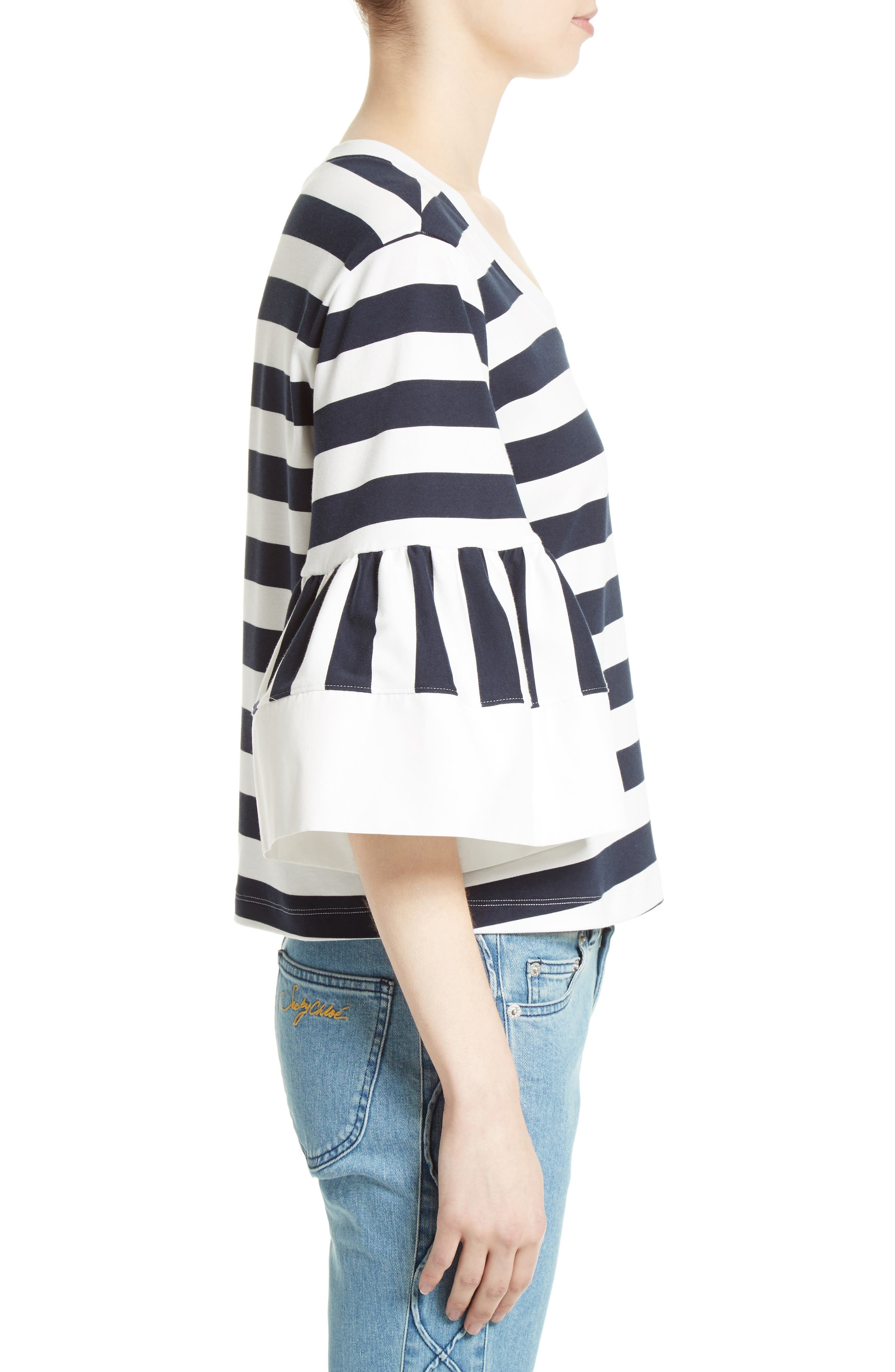 Alternate Image 4  - See by Chloé Stripe Jersey Bell Sleeve Top (Nordstrom Exclusive)
