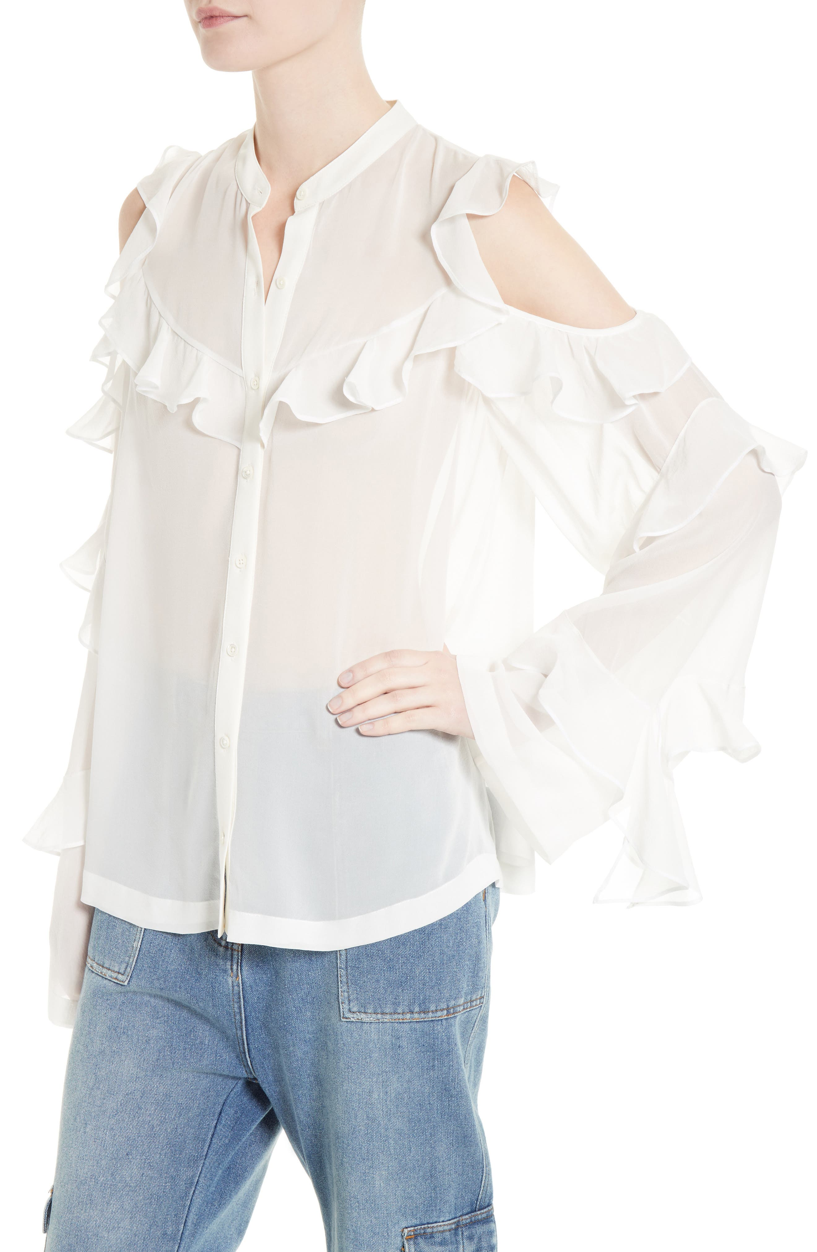Alternate Image 4  - Robert Rodriguez Ruffle Silk Cold Shoulder Blouse