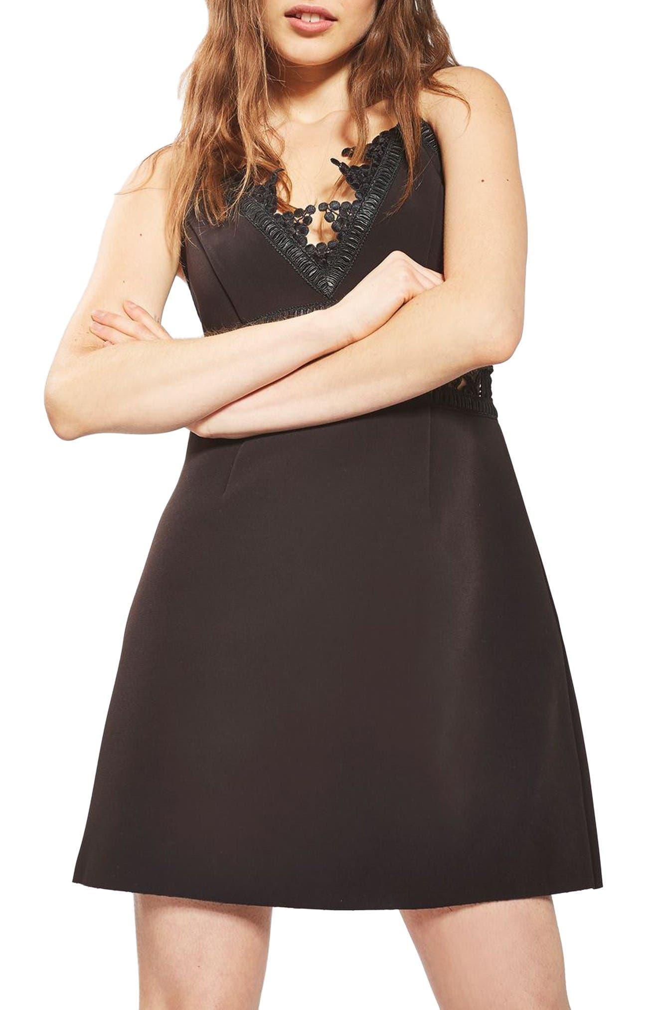Main Image - Topshop Lace Inset Minidress