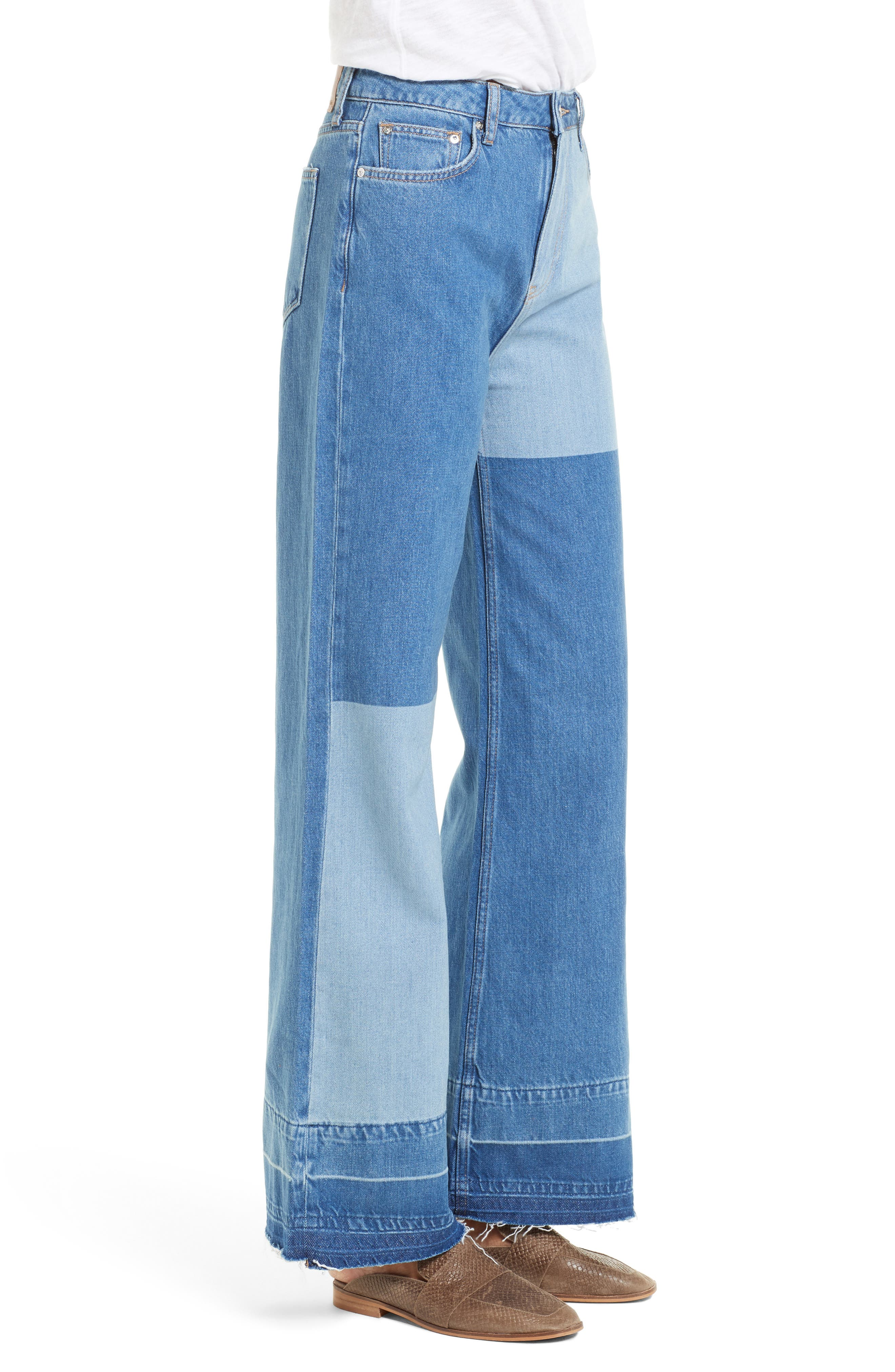 Alternate Image 4  - Free People The Wideleg High Waist Patchwork Jeans