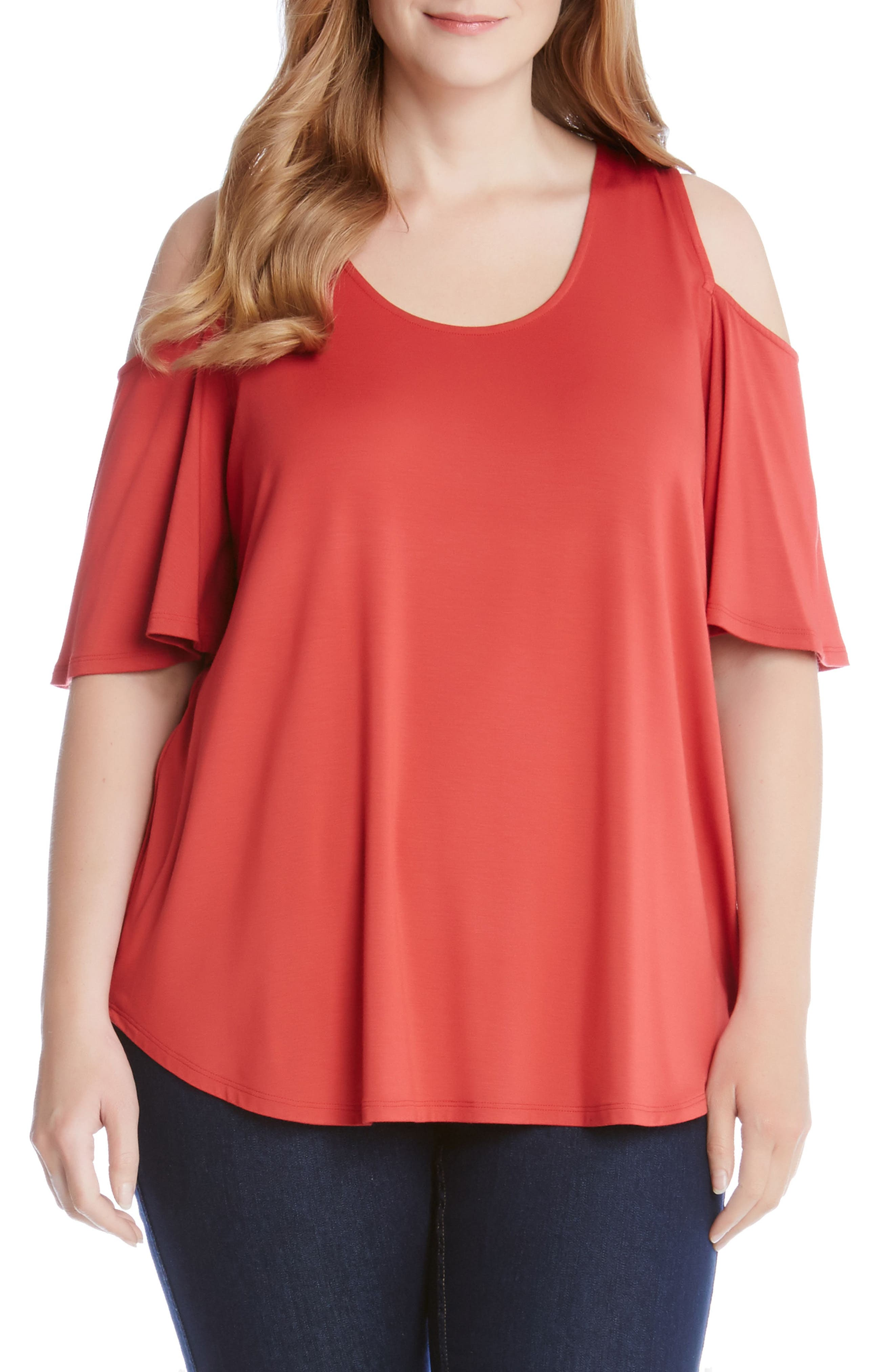 Karen Kane Cold Shoulder Shirttail Top (Plus Size)