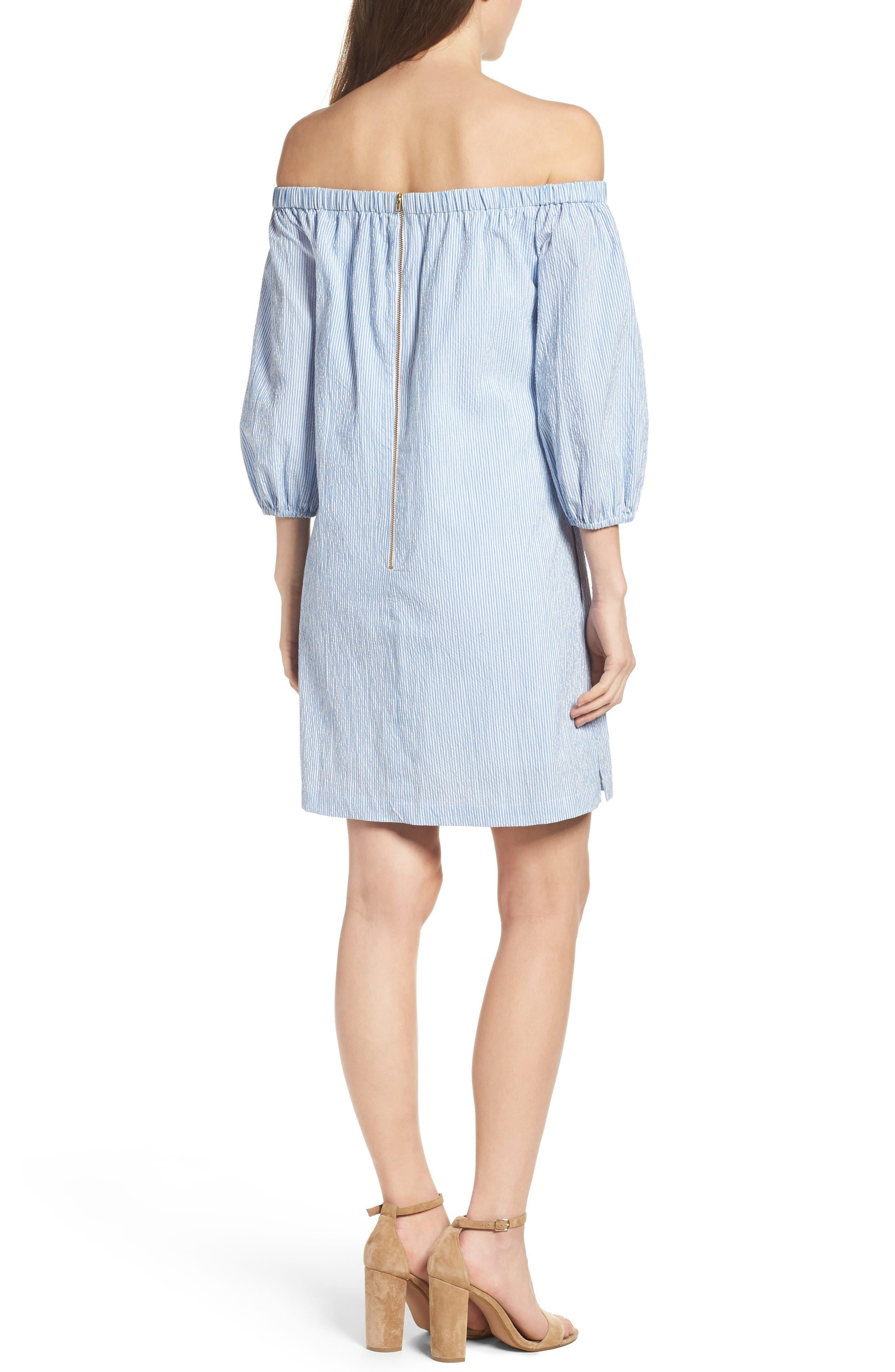 Alternate Image 3  - Eliza J Lace Trim Seersucker Off the Shoulder Dress (Regular & Petite)