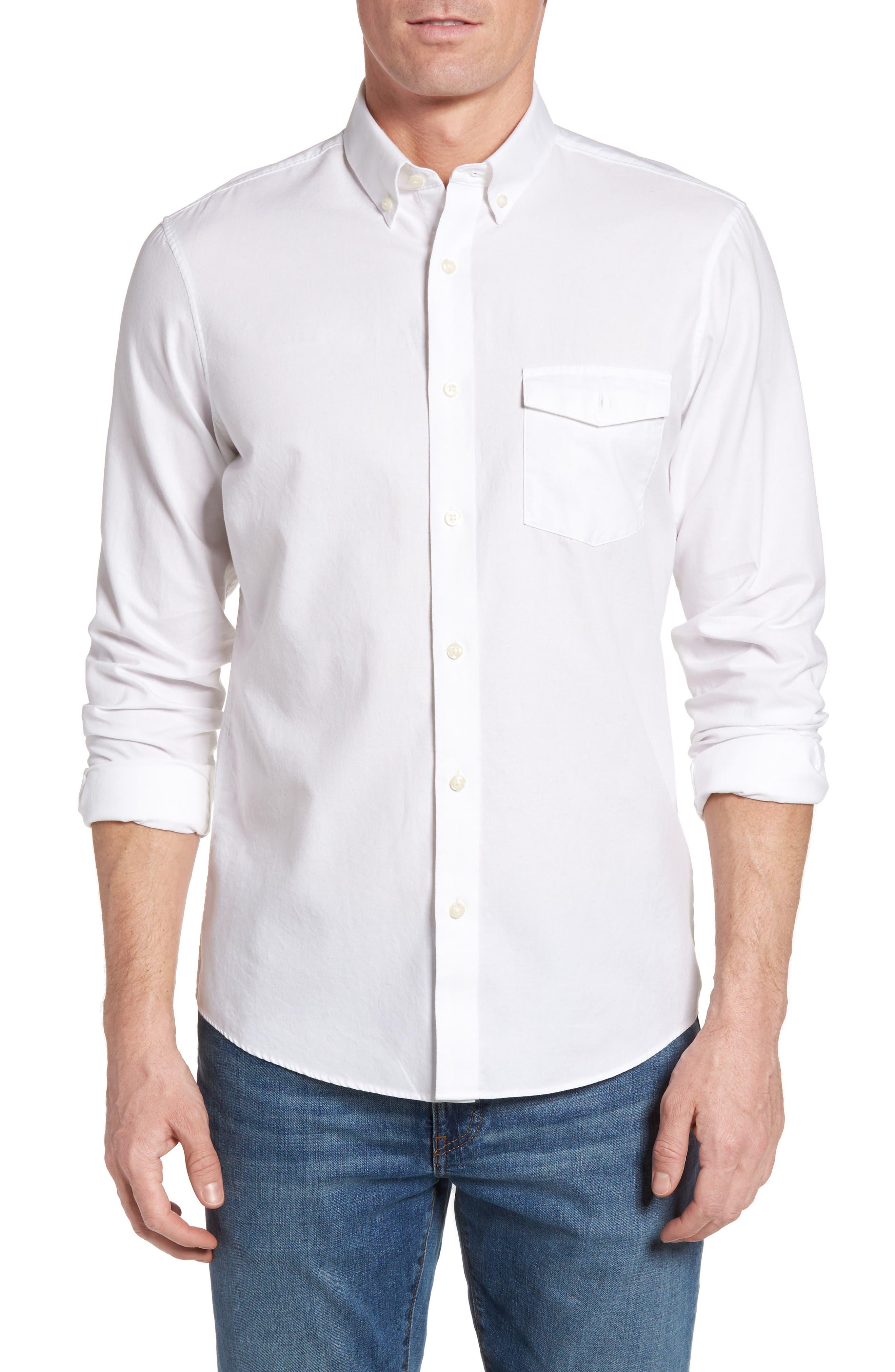 Nordstrom Men's Shop Slim Fit Washed Oxford Sport Shirt