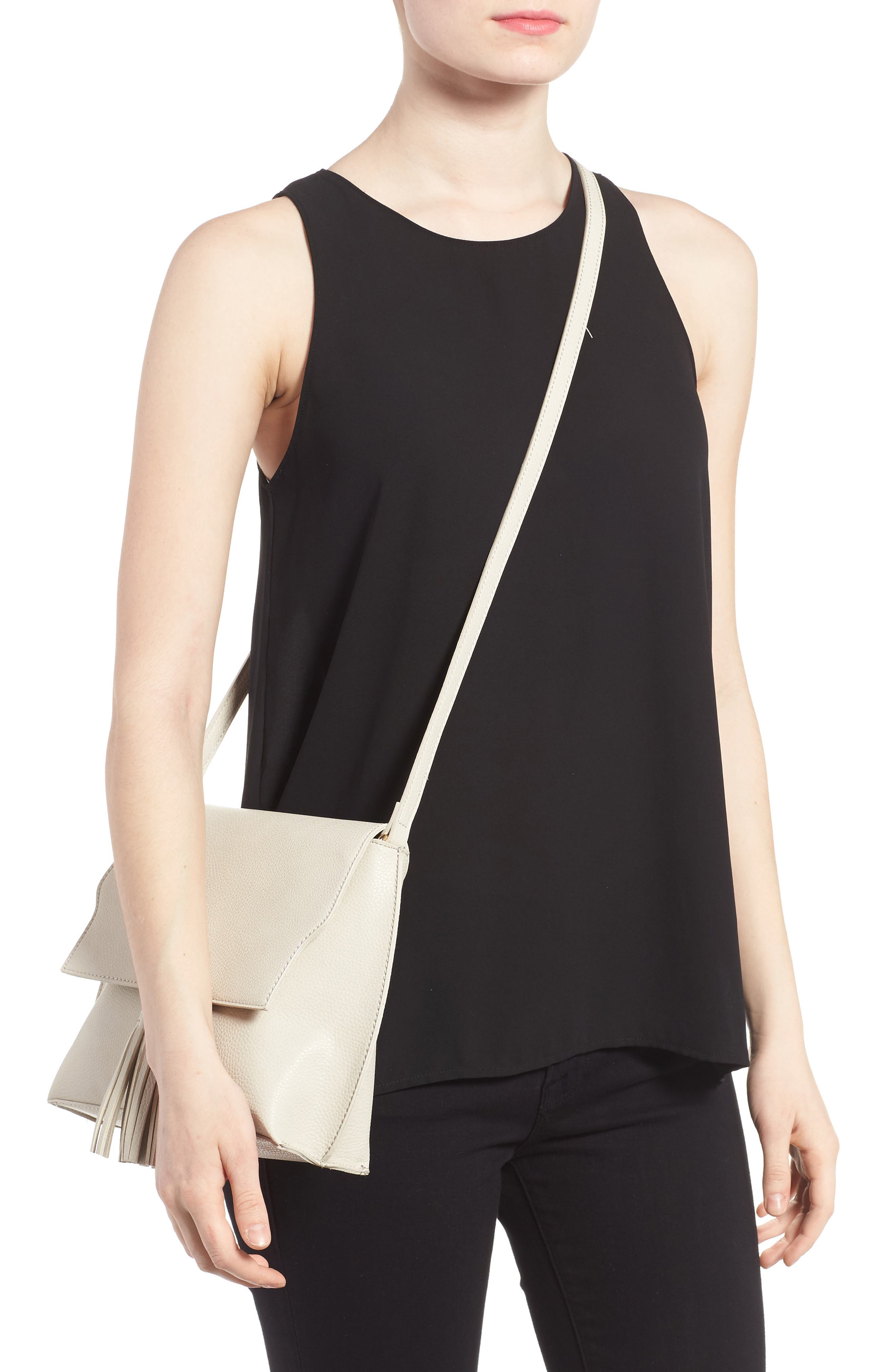 Alternate Image 2  - Sole Society Tassel Faux Leather Crossbody Bag