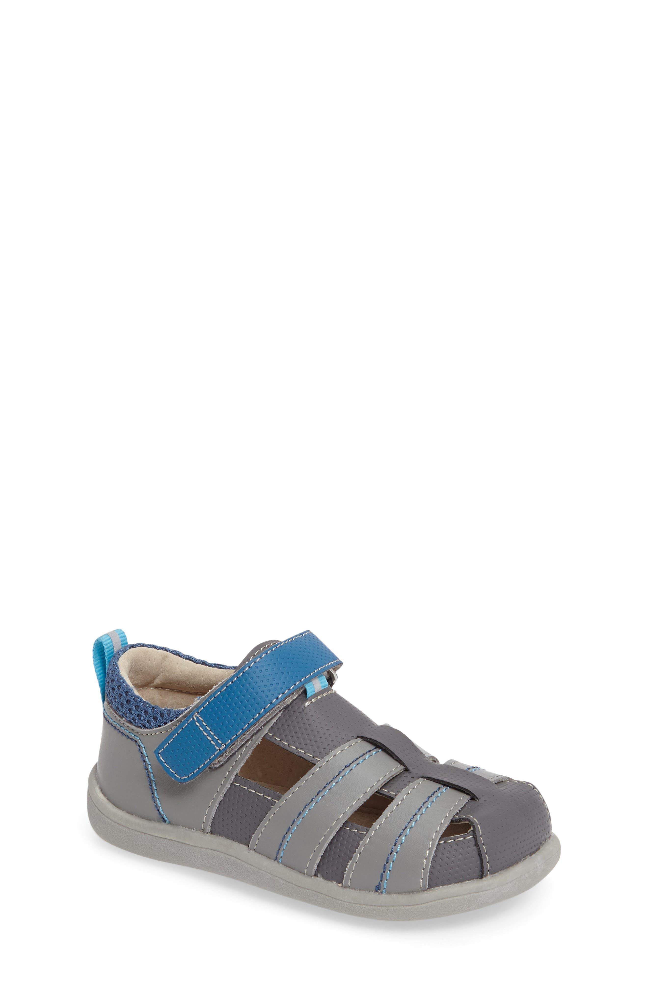 See Kai Run 'Ryan II' Leather Sandal (Baby, Walker & Toddler)