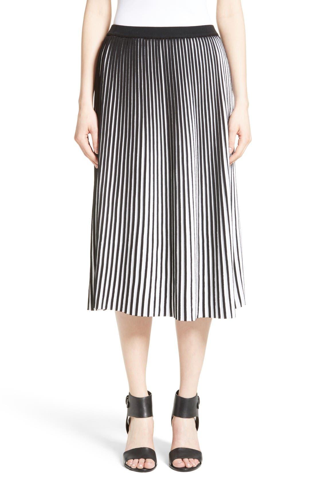 LAFAYETTE 148 NEW YORK Stripe Plissé Midi Skirt