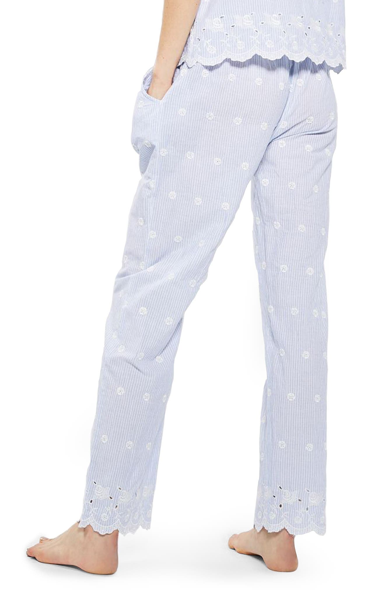 Alternate Image 3  - Topshop Embroidered Stripe Pajama Pants