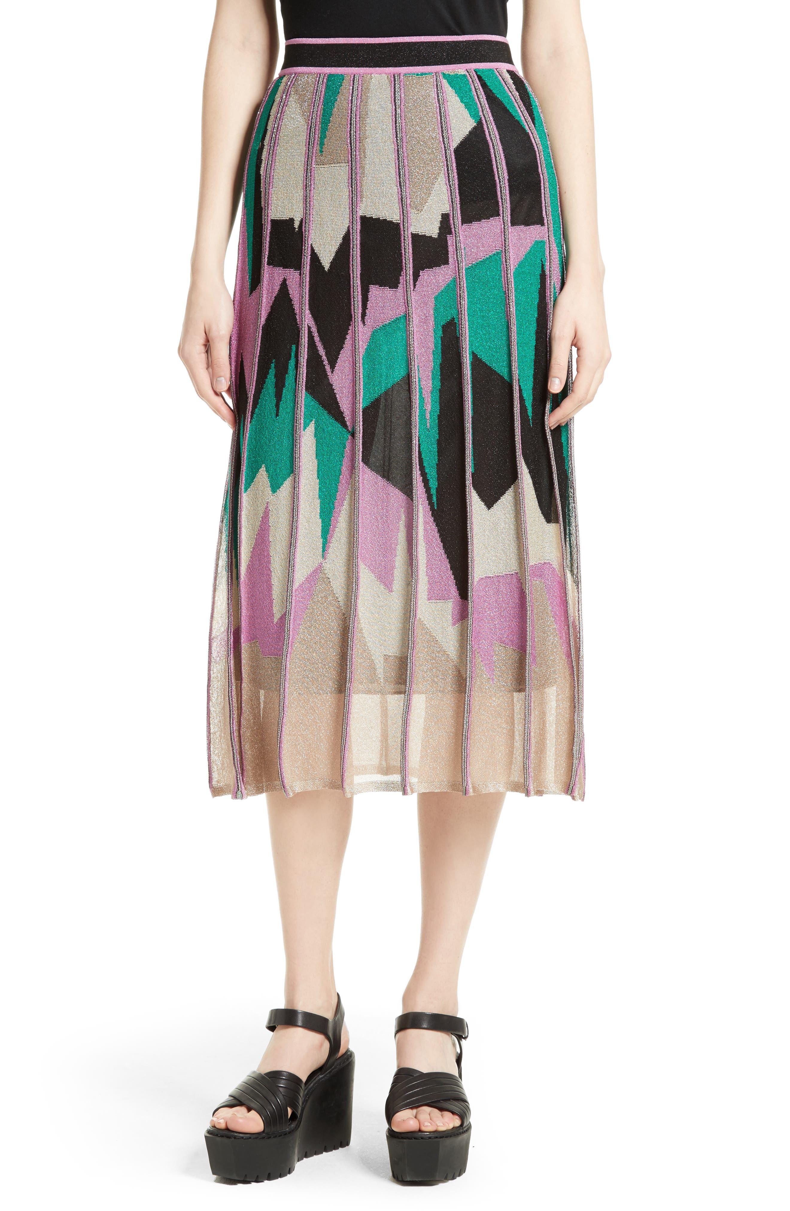 M Missoni Geometric Intarsia Midi Skirt