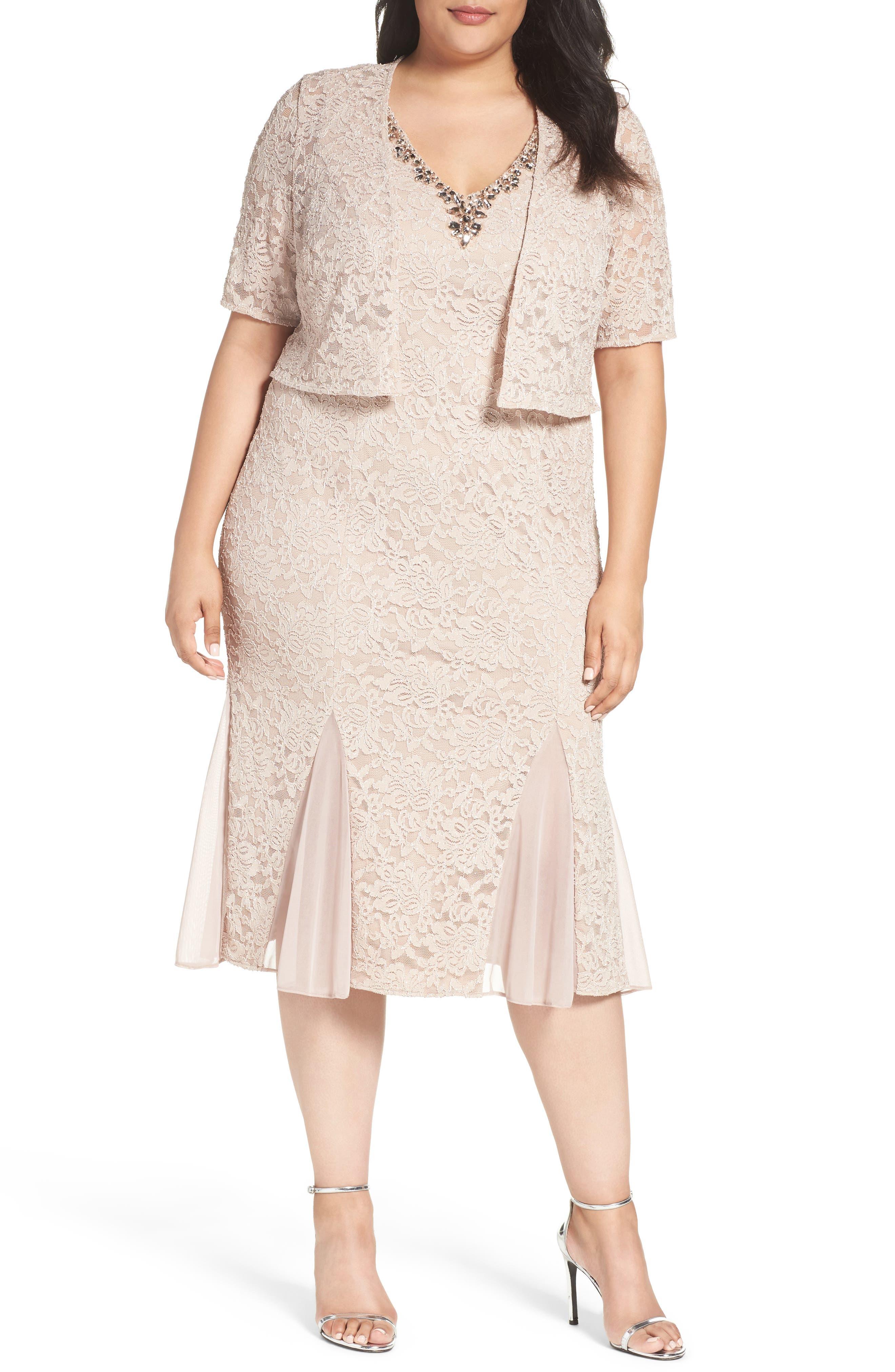 Alex Evenings Embellished Lace Tea Length Dress with Bolero Jacket (Plus Size)