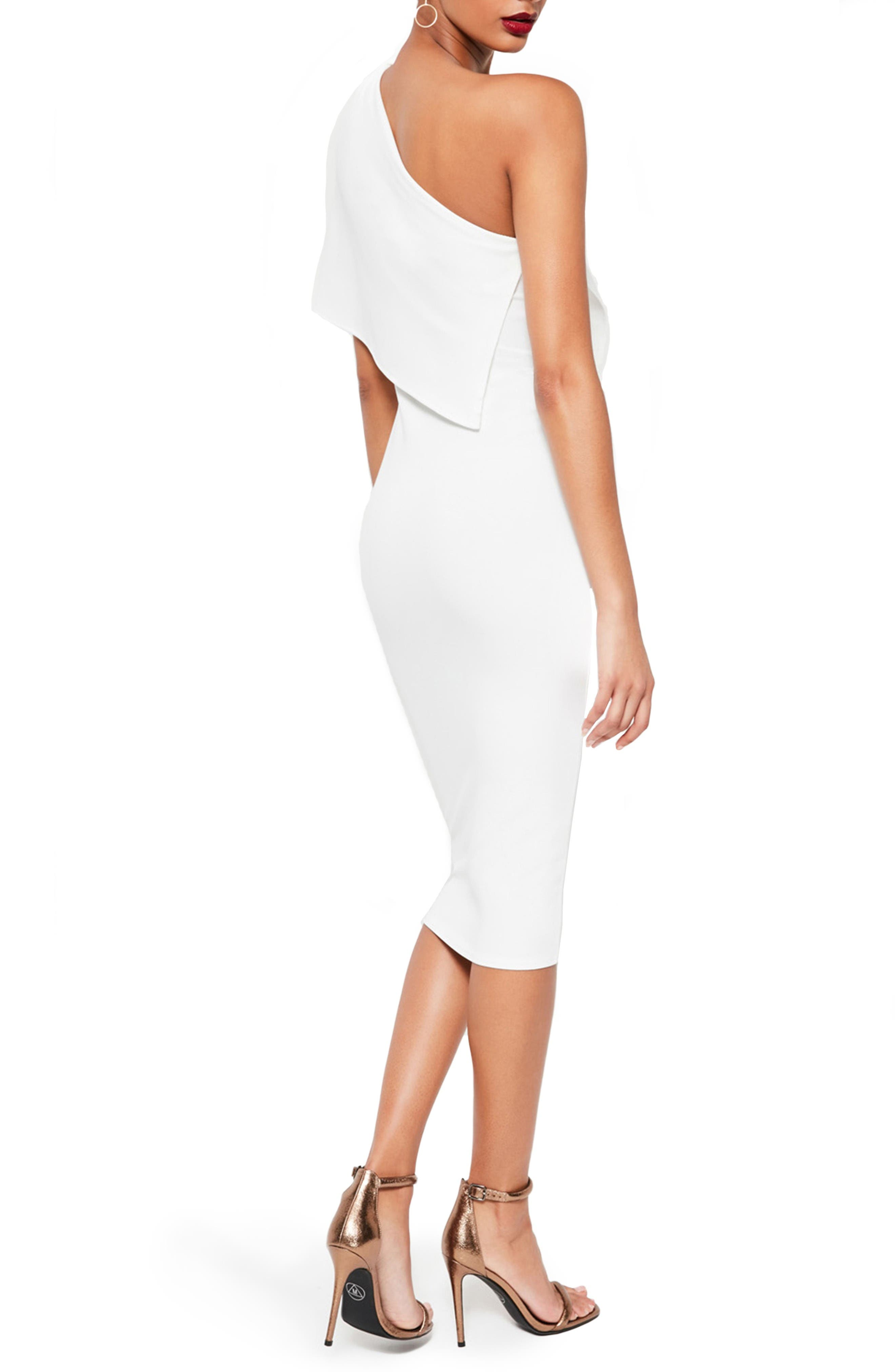 Alternate Image 2  - Missguided One-Shoulder Cape Midi Dress