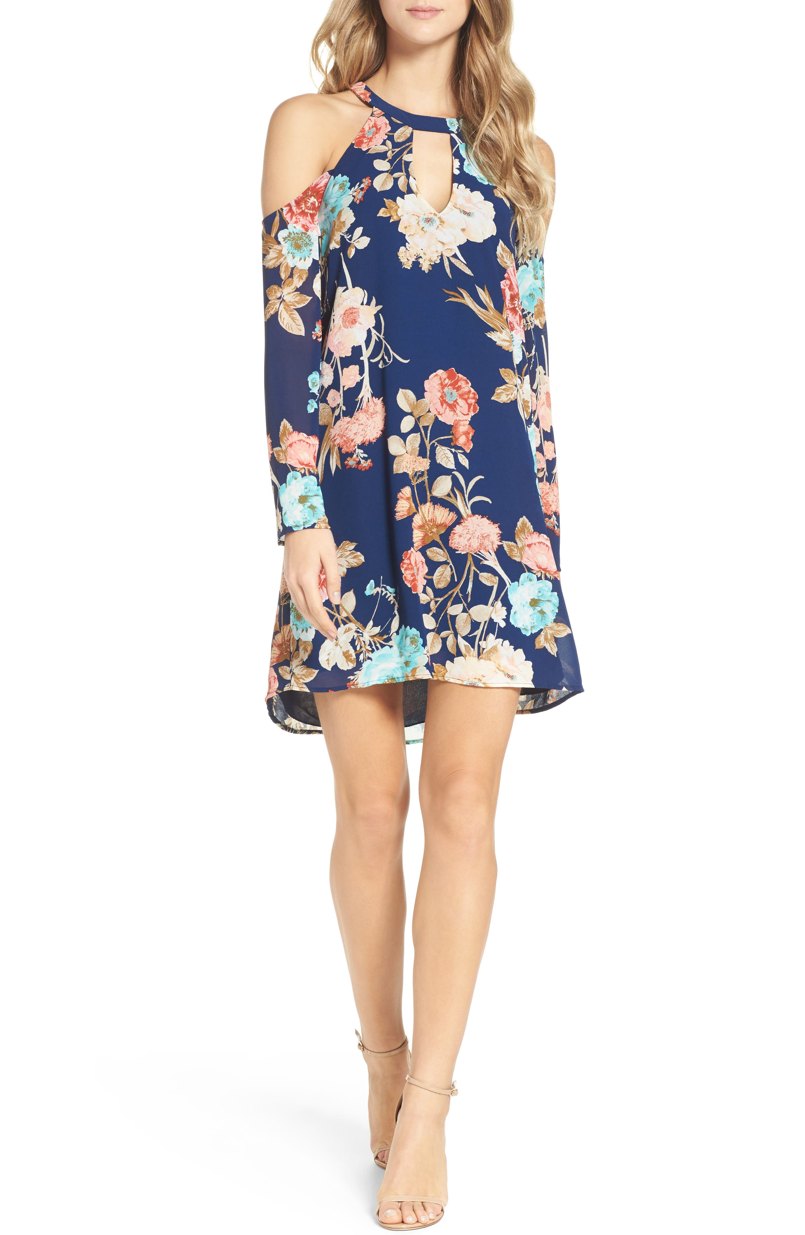 Charles Henry Cold Shoulder Dress