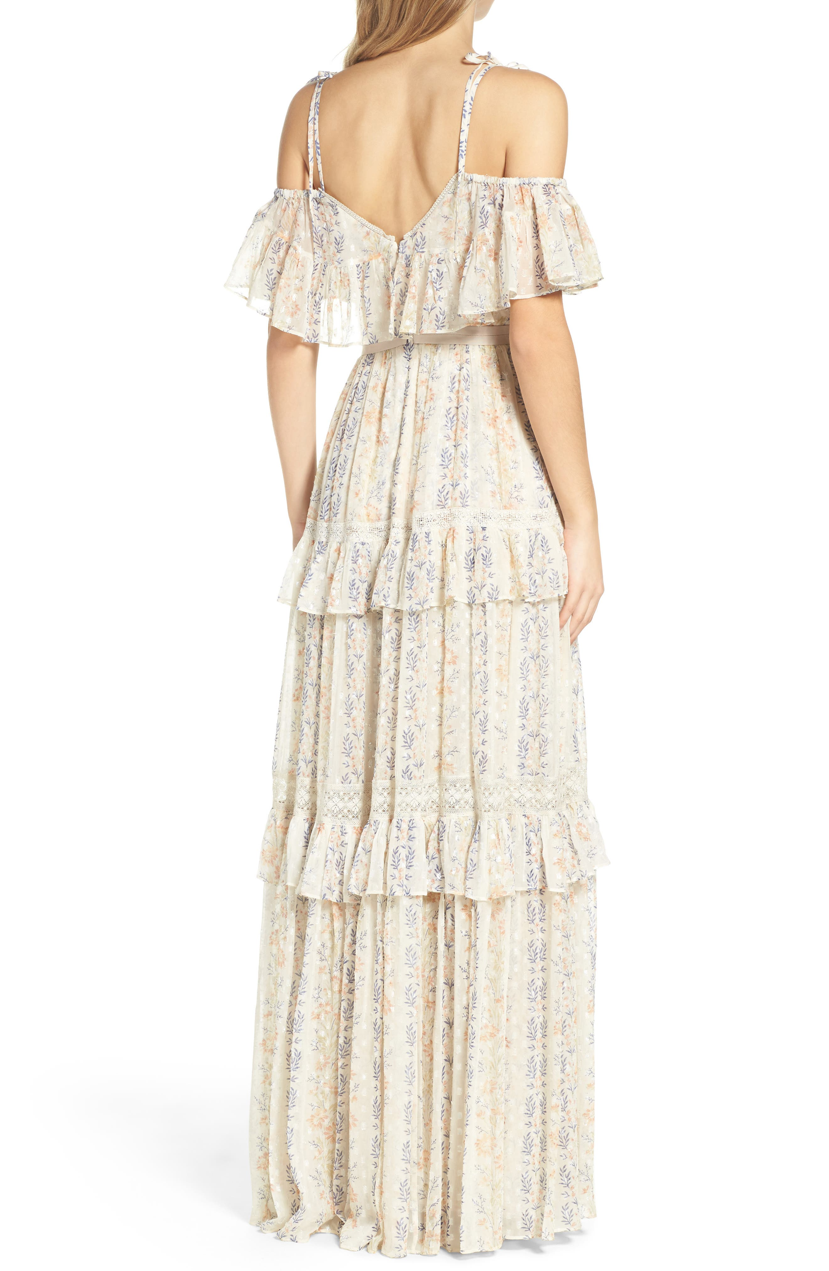 Alternate Image 2  - Needle & Thread Cold Shoulder Tiered Gown