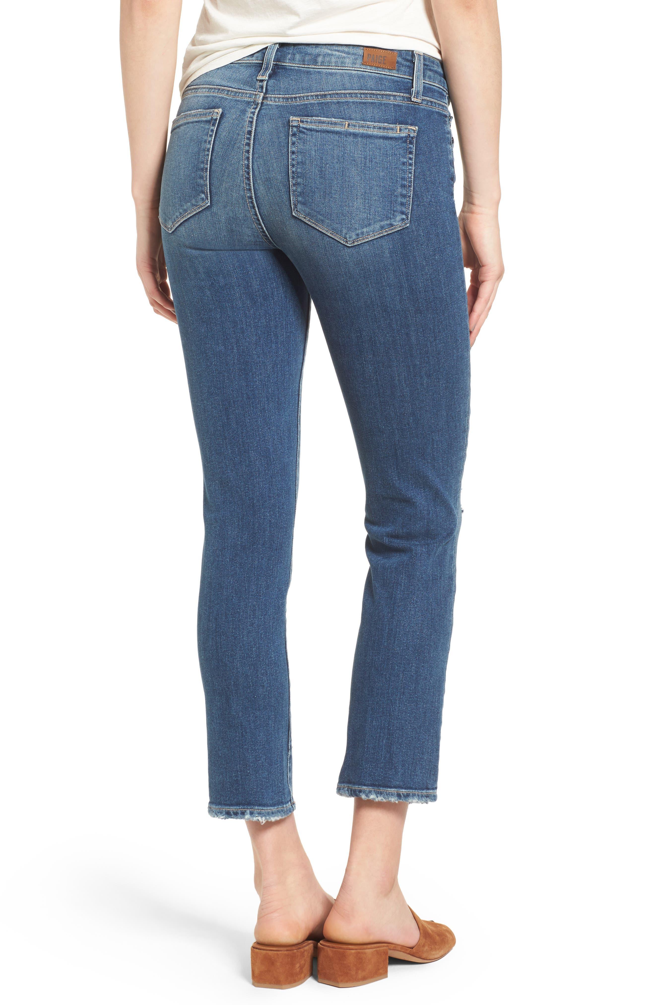Alternate Image 2  - PAIGE Miki Crop Straight Leg Jeans (Destructed Blue)