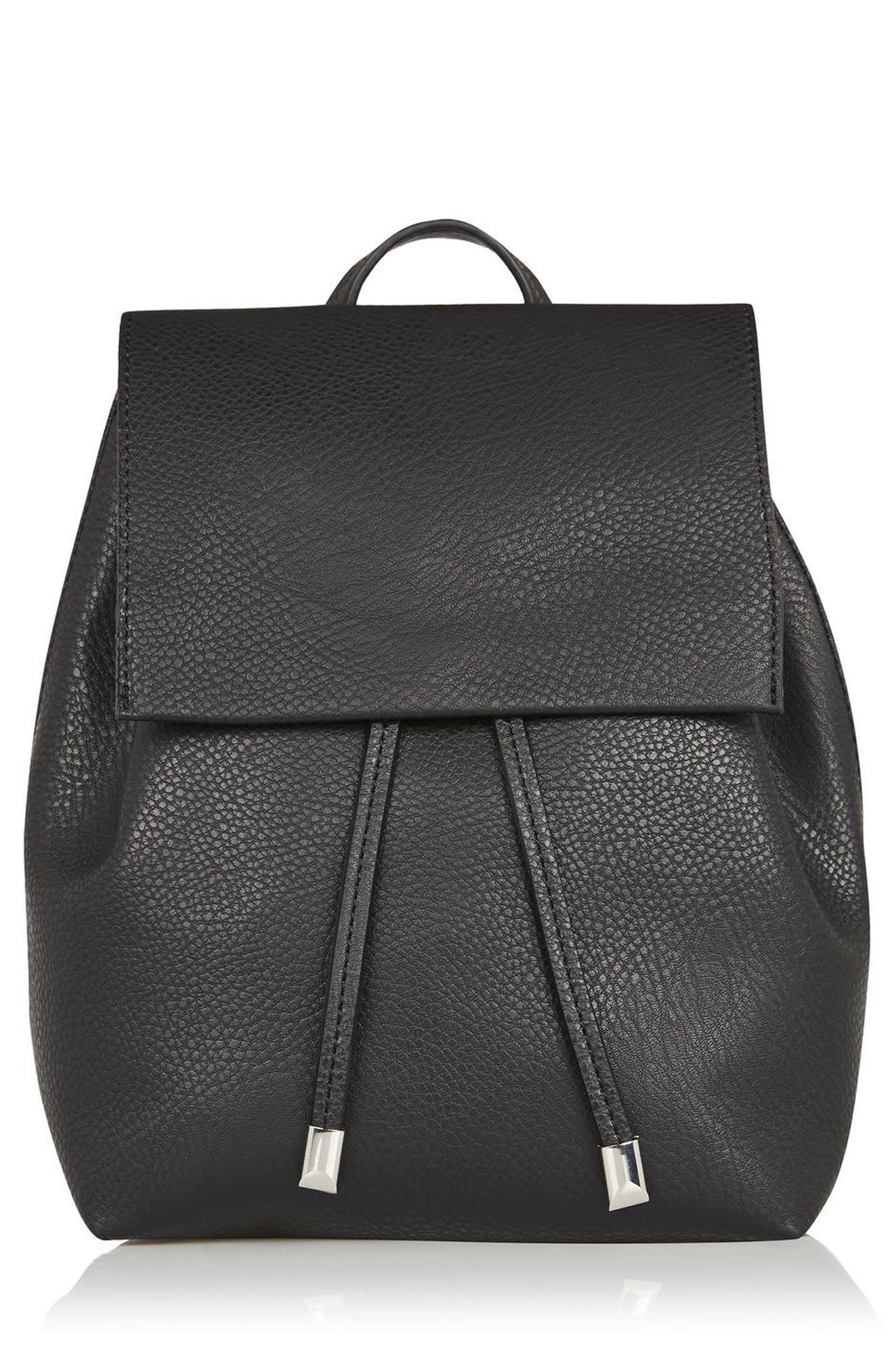 Main Image - Topshop Chain Strap Mini Faux Leather Backpack